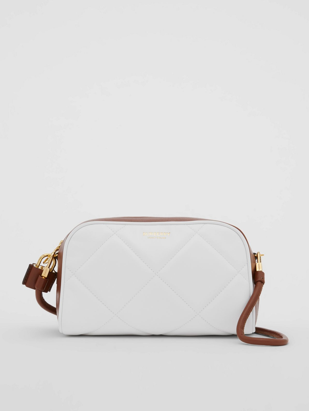 Two-tone Lambskin Half Cube Crossbody Bag in White/tan