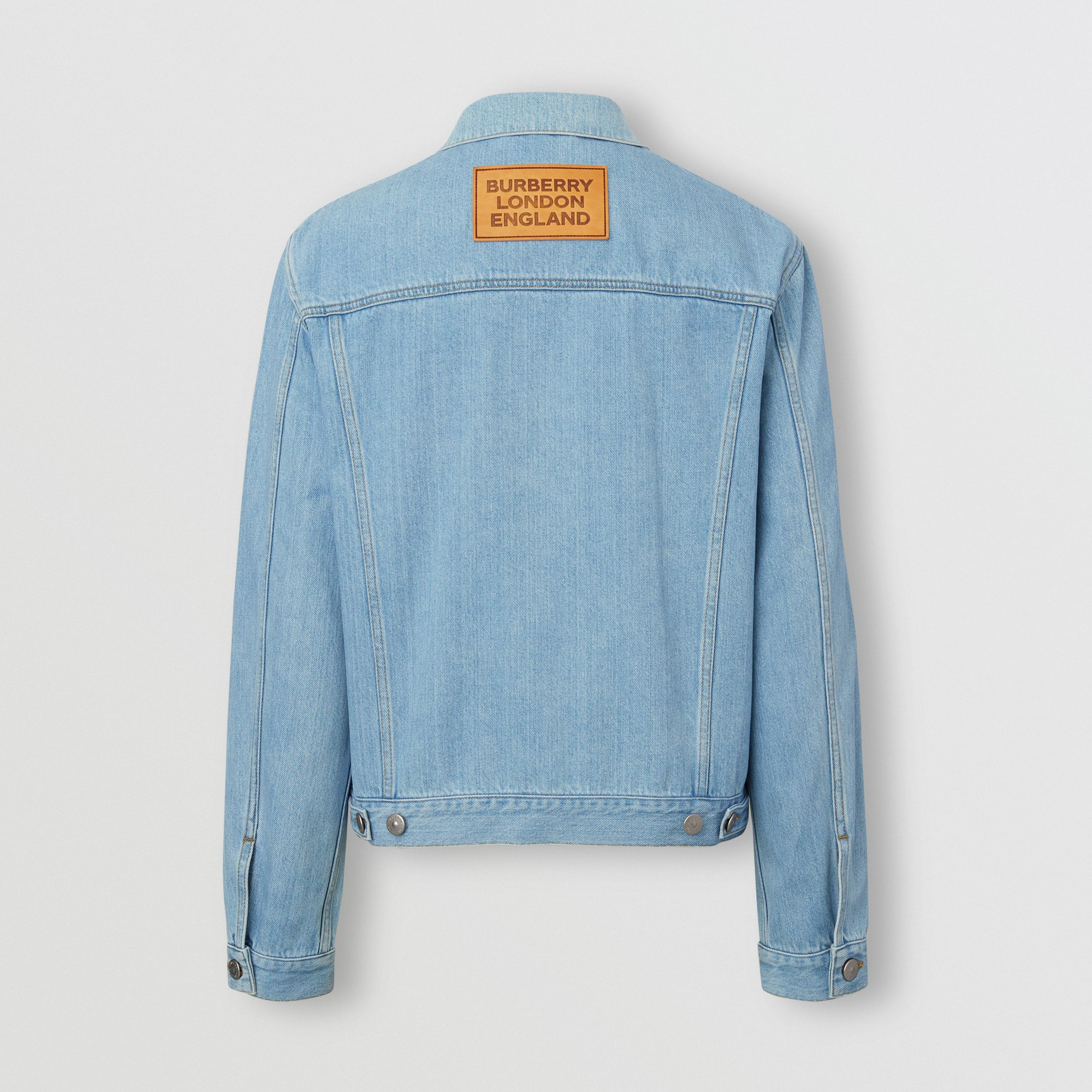 Logo Appliqué Japanese Denim Jacket in Light Indigo Blue - Men | Burberry Australia - 2