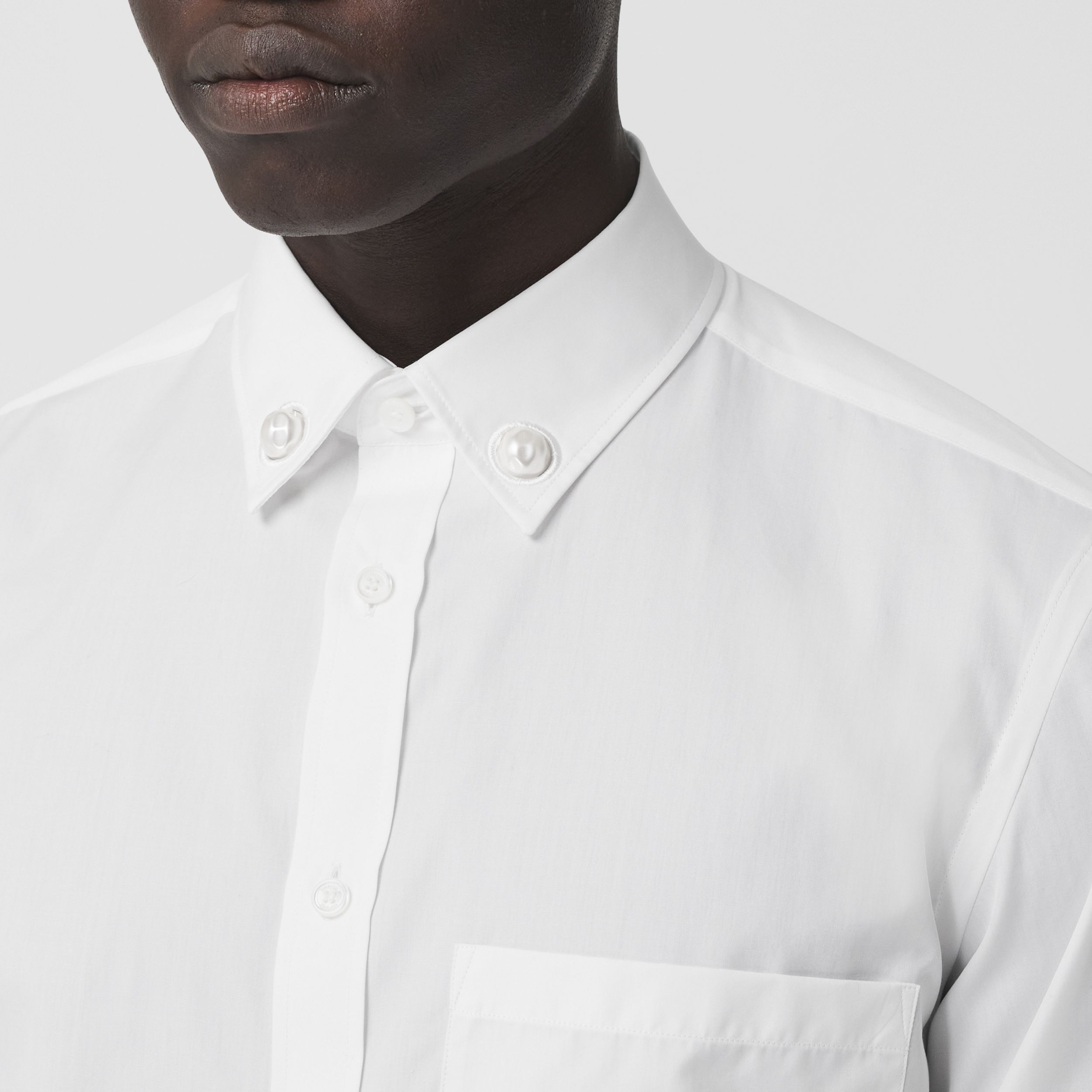 Slim Fit Resin Pearl Detail Cotton Shirt in White - Men | Burberry - 2
