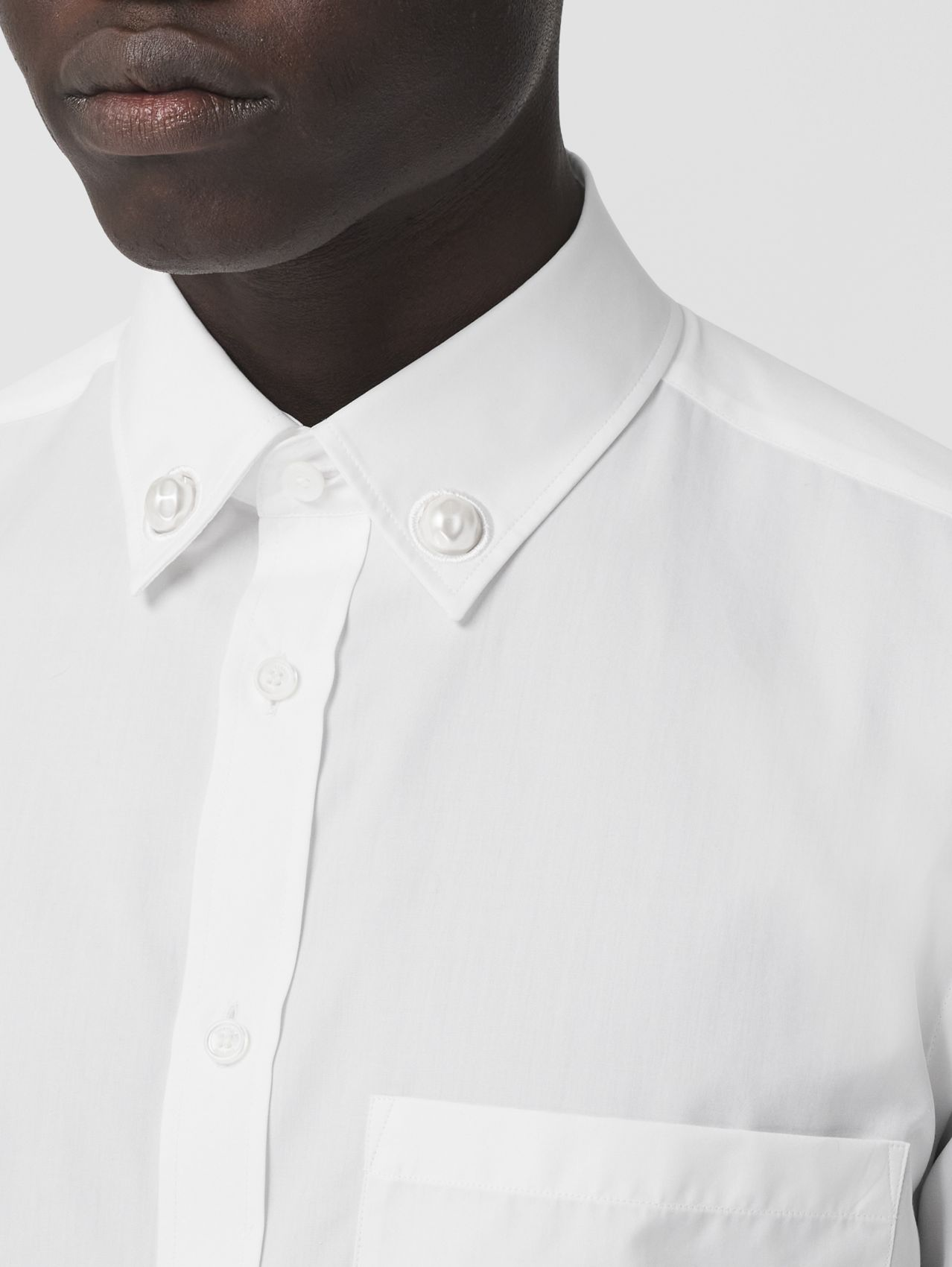 Slim Fit Resin Pearl Detail Cotton Shirt in White