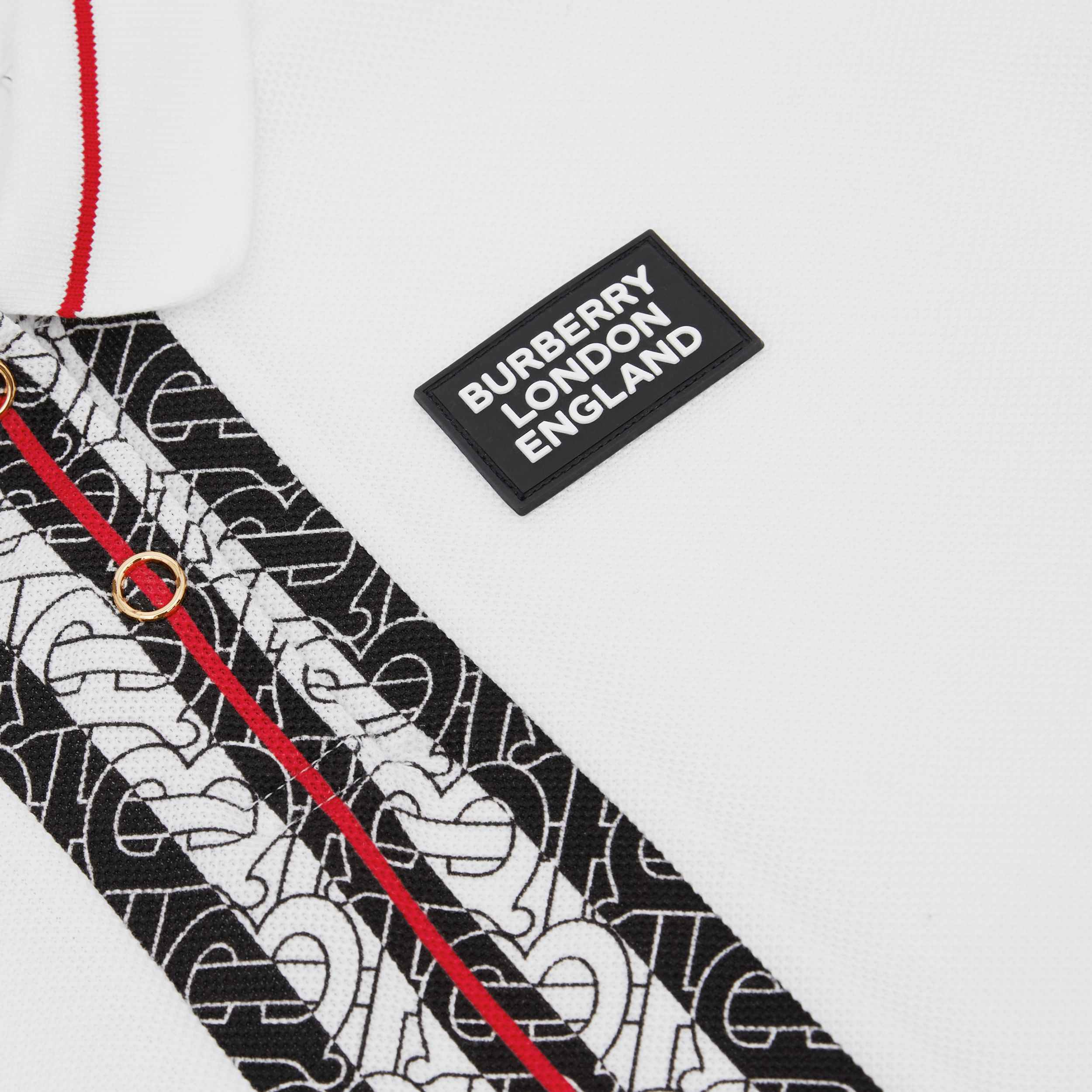 Monogram Stripe Print Cotton Piqué Polo Shirt in White | Burberry - 2