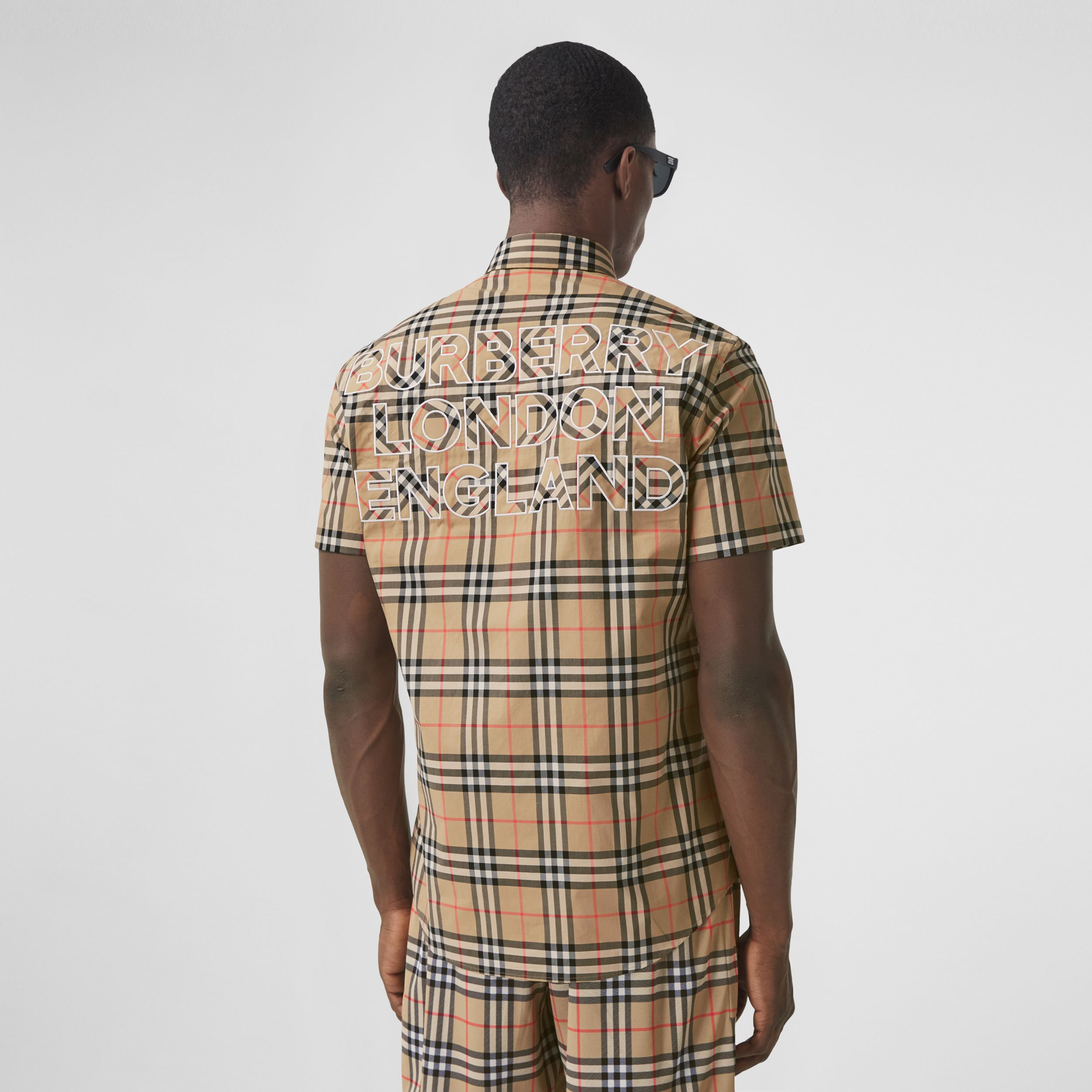 Short-sleeve Logo Appliqué Vintage Check Shirt in Archive Beige - Men | Burberry - 1