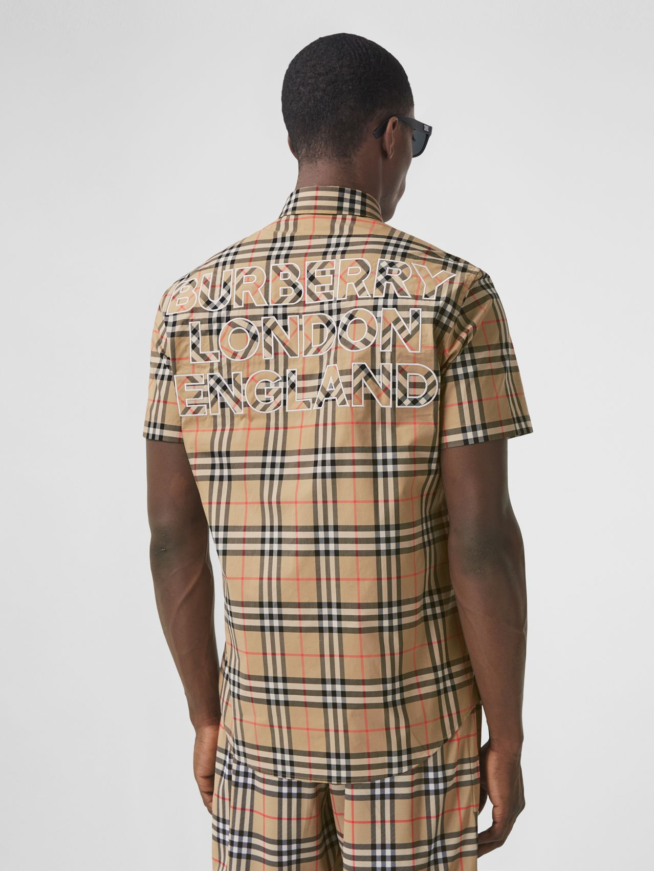 Short-sleeve Logo Appliqué Vintage Check Shirt in Archive Beige