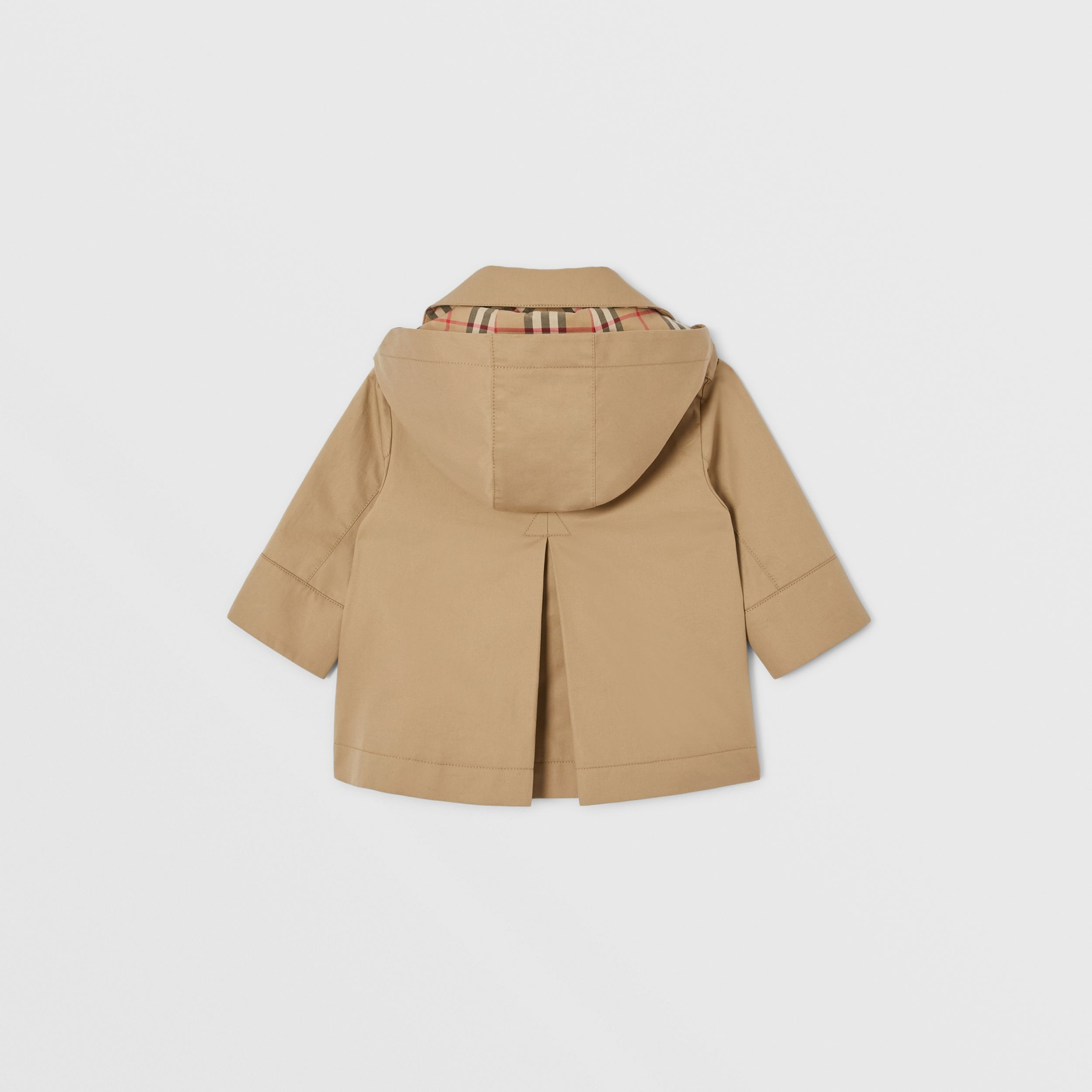 Cotton Twill Hooded Trench Coat in Honey - Children | Burberry - 4