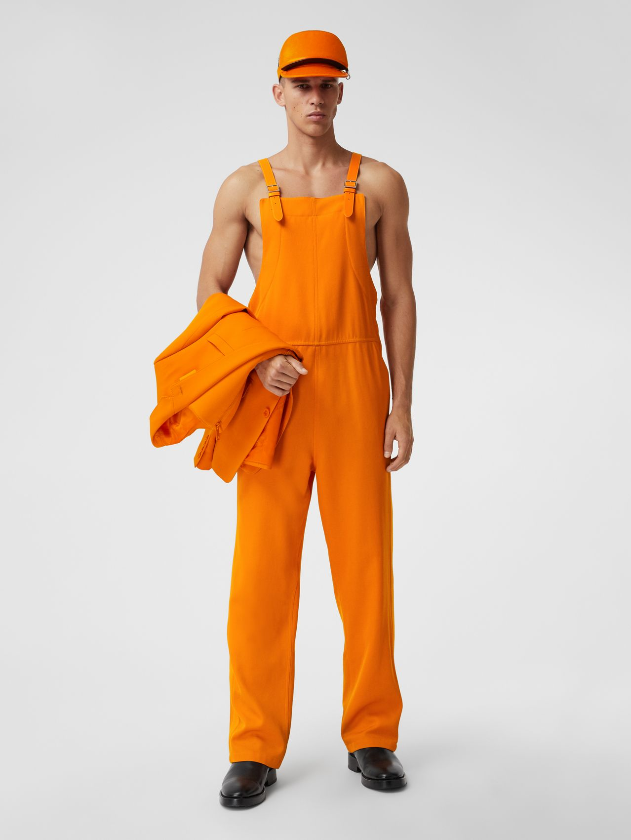Wool and Modal Bib-front Trousers in Deep Orange