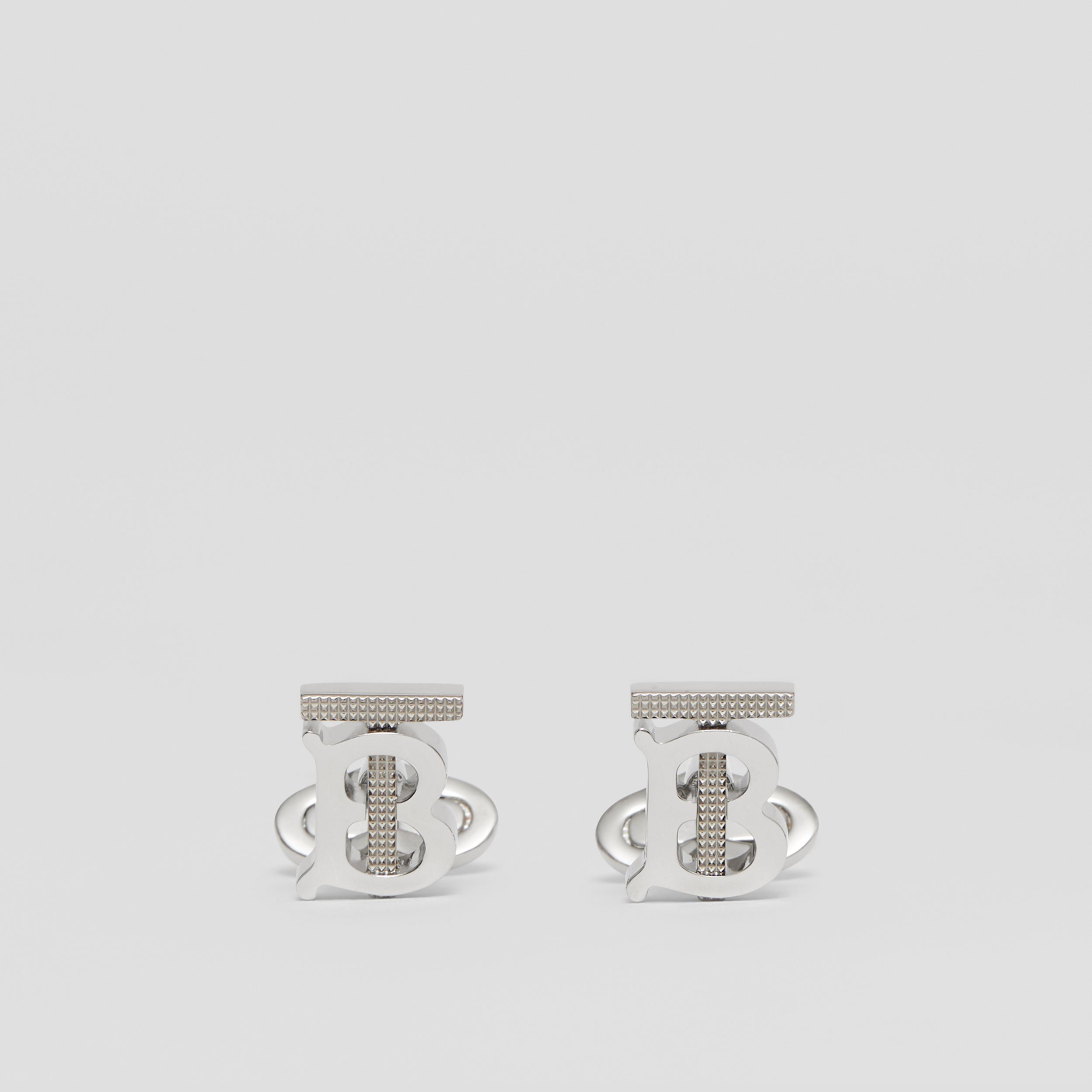 Studded Monogram Motif Palladium-plated Cufflinks - Men | Burberry - 1