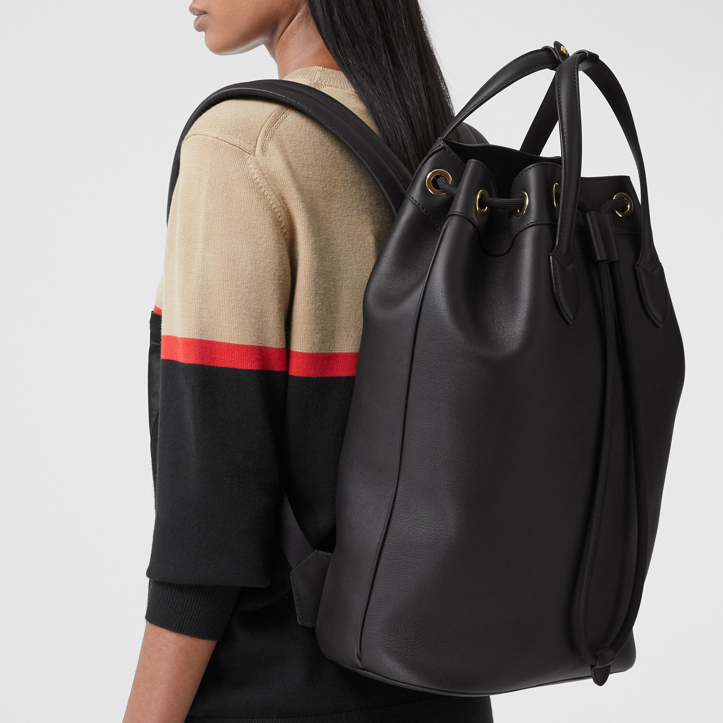 Leather Drawcord Backpack in Black | Burberry Canada - 3