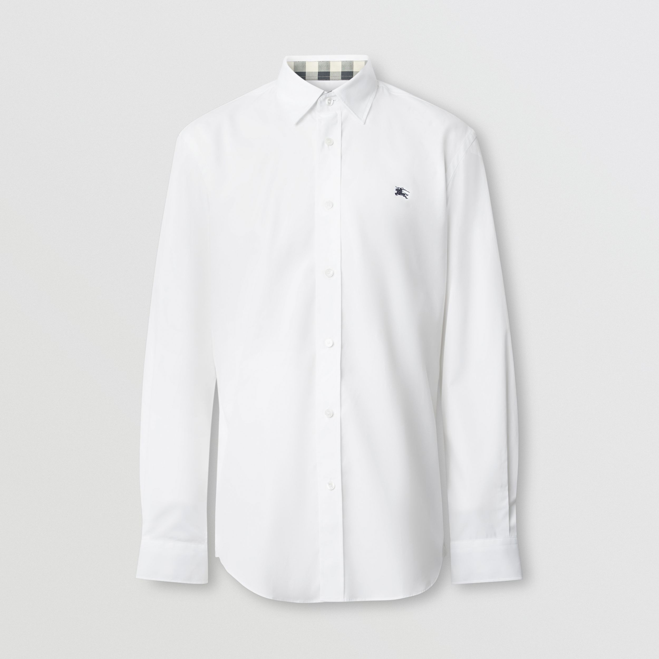 Embroidered EKD Stretch Cotton Poplin Shirt in White - Men | Burberry Hong Kong S.A.R. - 1