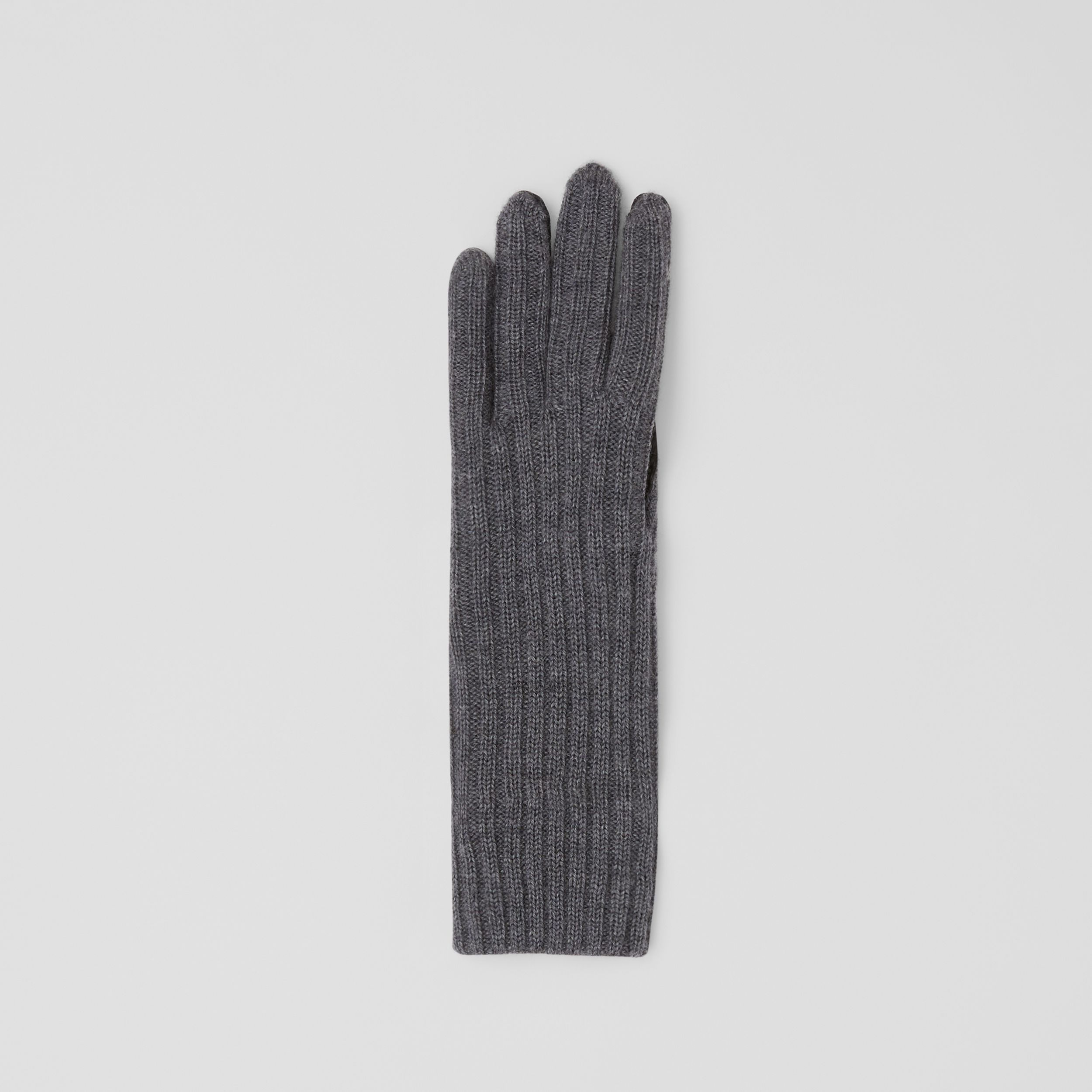 Cashmere-lined Merino Wool and Deerskin Gloves in Grey Melange - Men | Burberry - 3