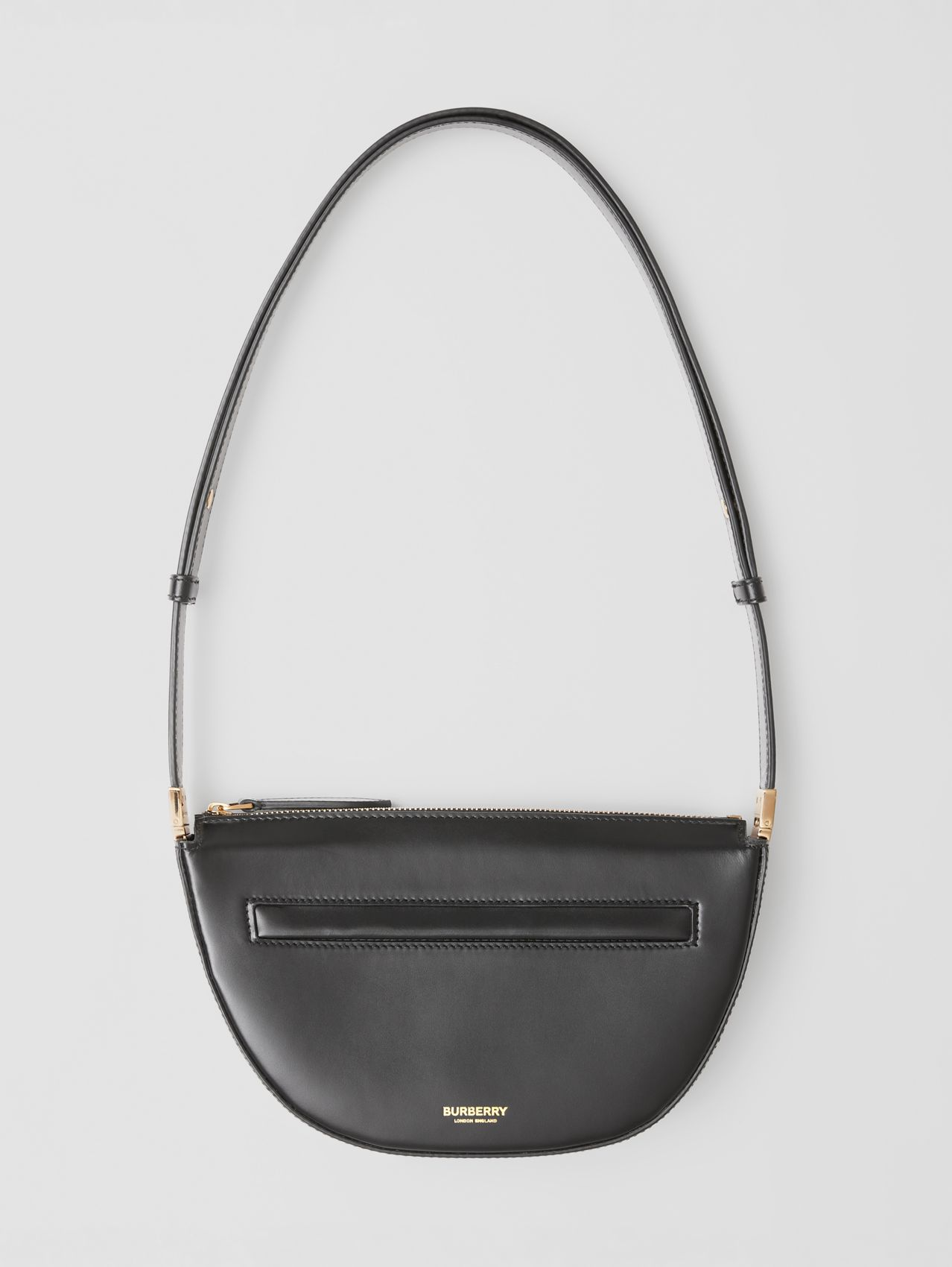 Mini Leather Zip Olympia Bag in Black