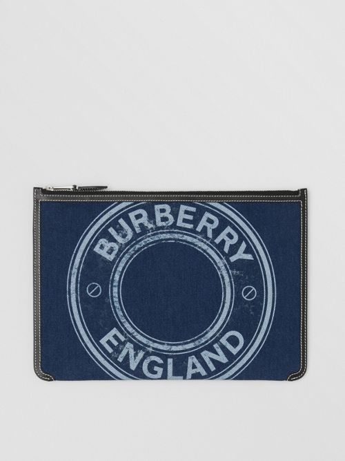 Burberry Logo Graphic Denim Zip Pouch