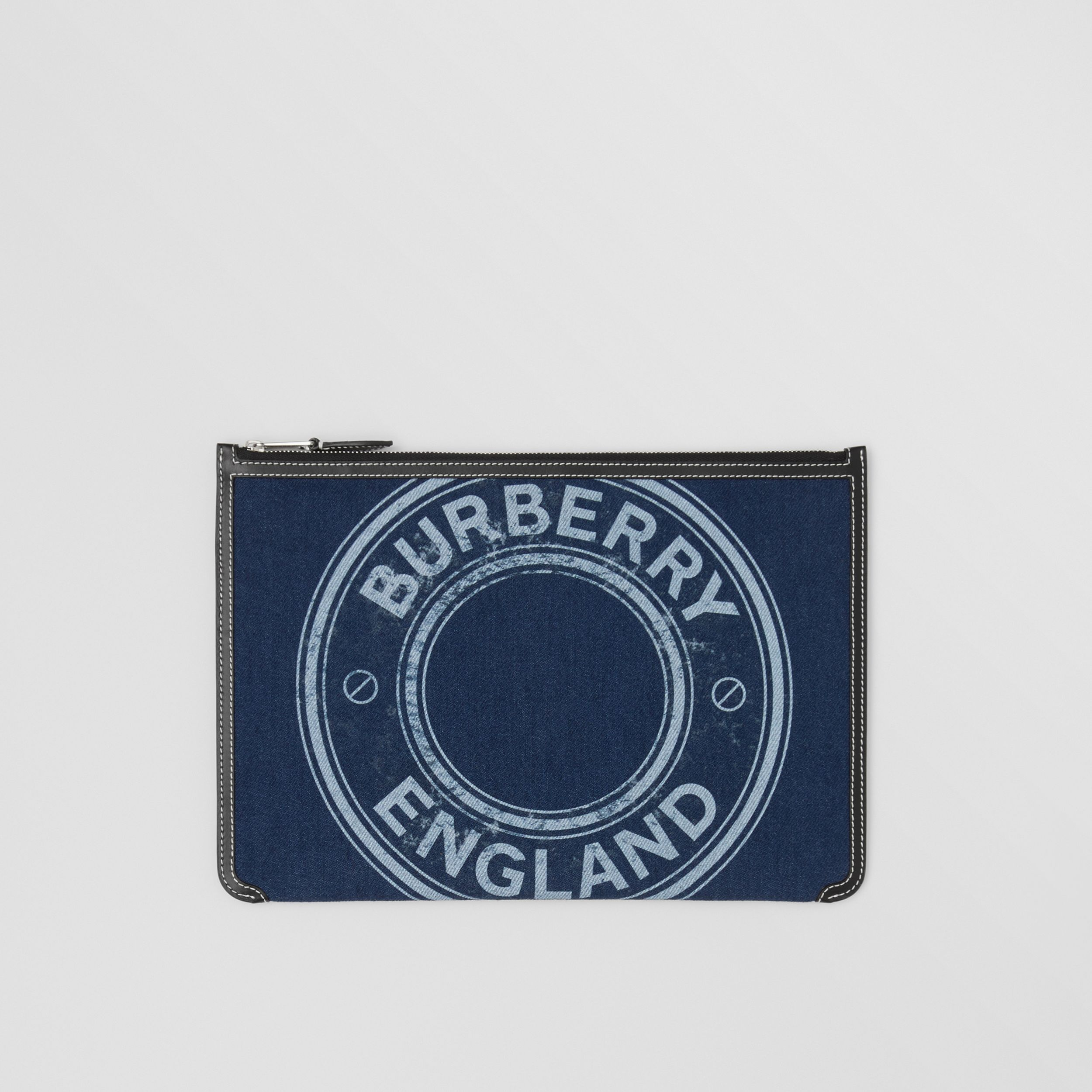 Logo Graphic Denim Zip Pouch in Dark Canvas Blue - Women | Burberry - 1