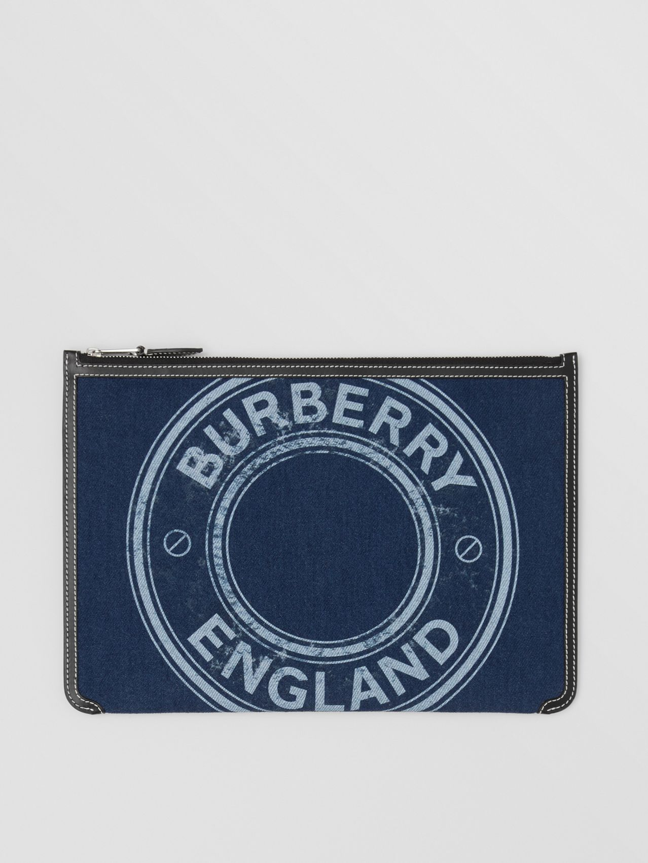 Logo Graphic Denim Zip Pouch in Dark Canvas Blue