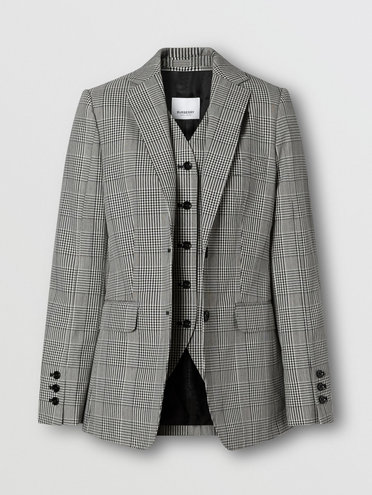 Waistcoat Panel Check Technical Wool Tailored Jacket in Black