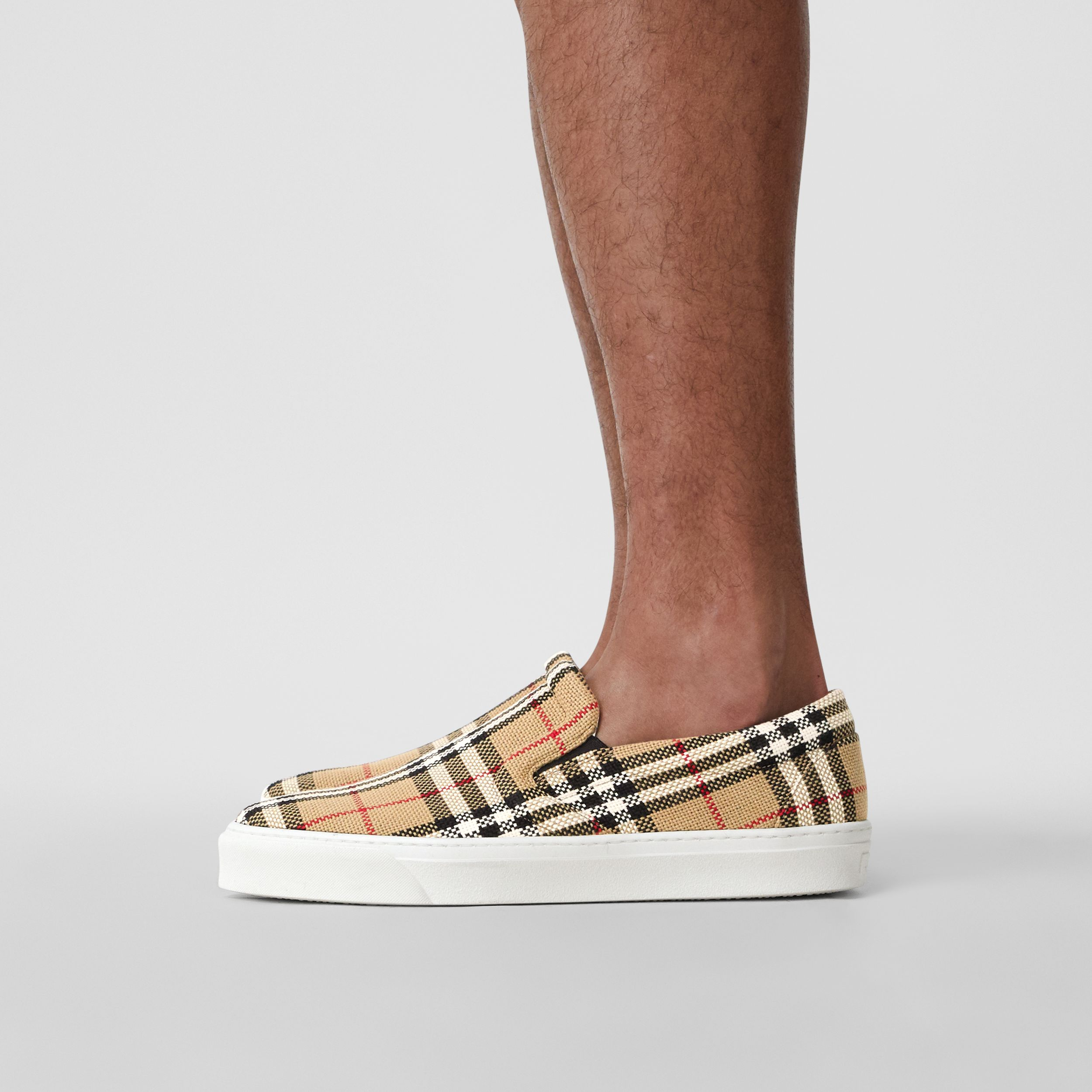 Bio-based Sole Latticed Cotton Slip-on Sneakers in Archive Beige - Men | Burberry United Kingdom - 3