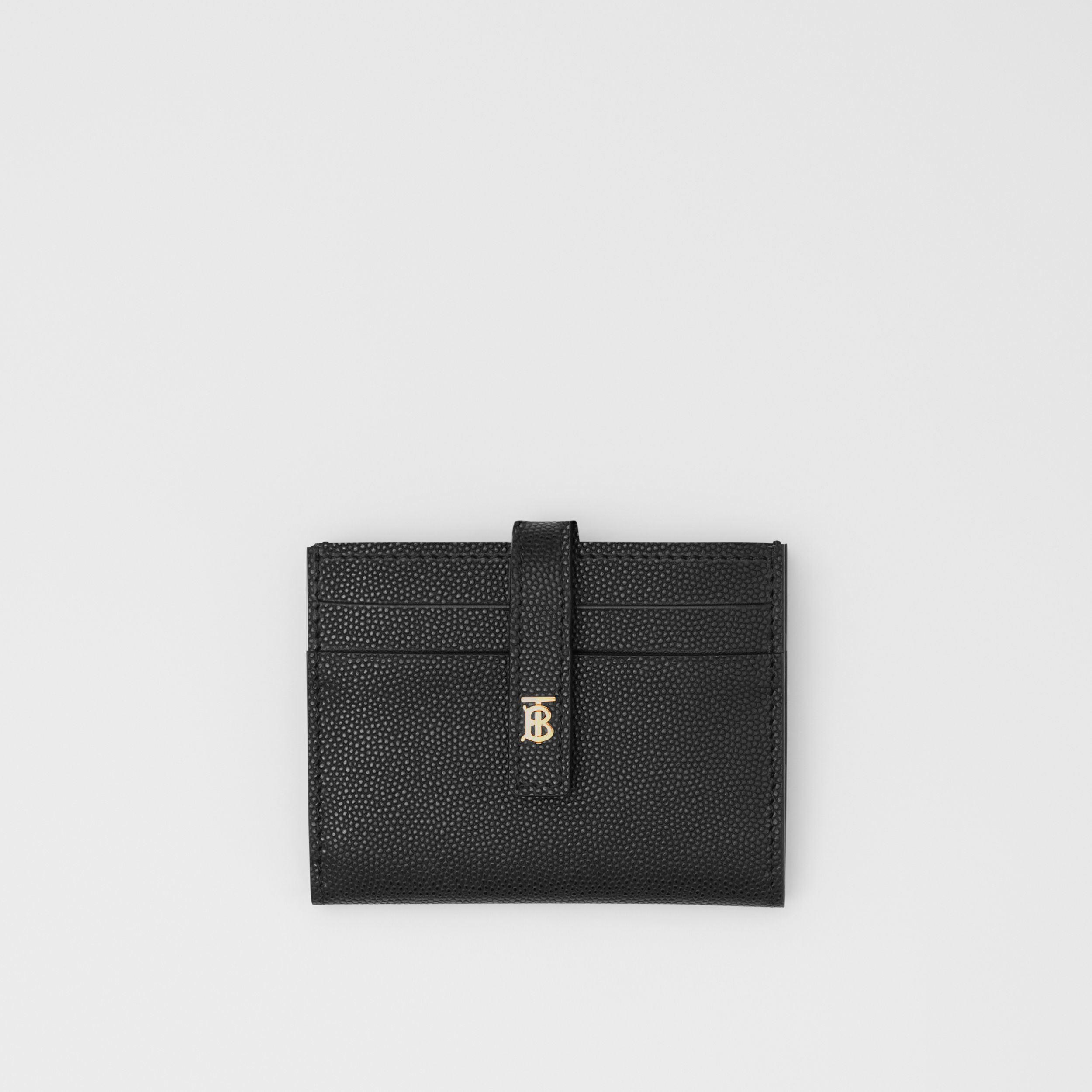 Monogram Motif Leather Folding Card Case in Black - Women | Burberry - 1