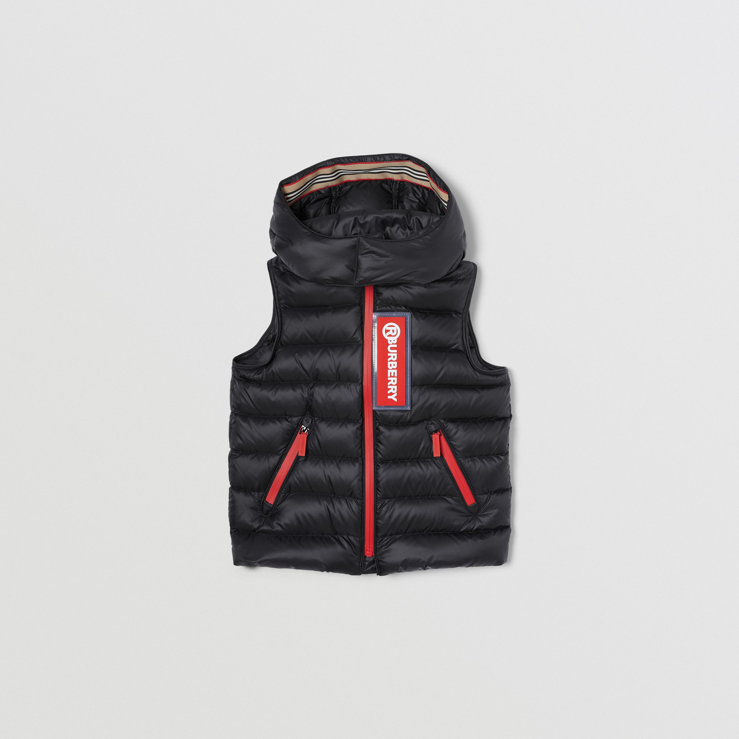 Detachable Hood Logo Appliqué Puffer Gilet in Black | Burberry - 1