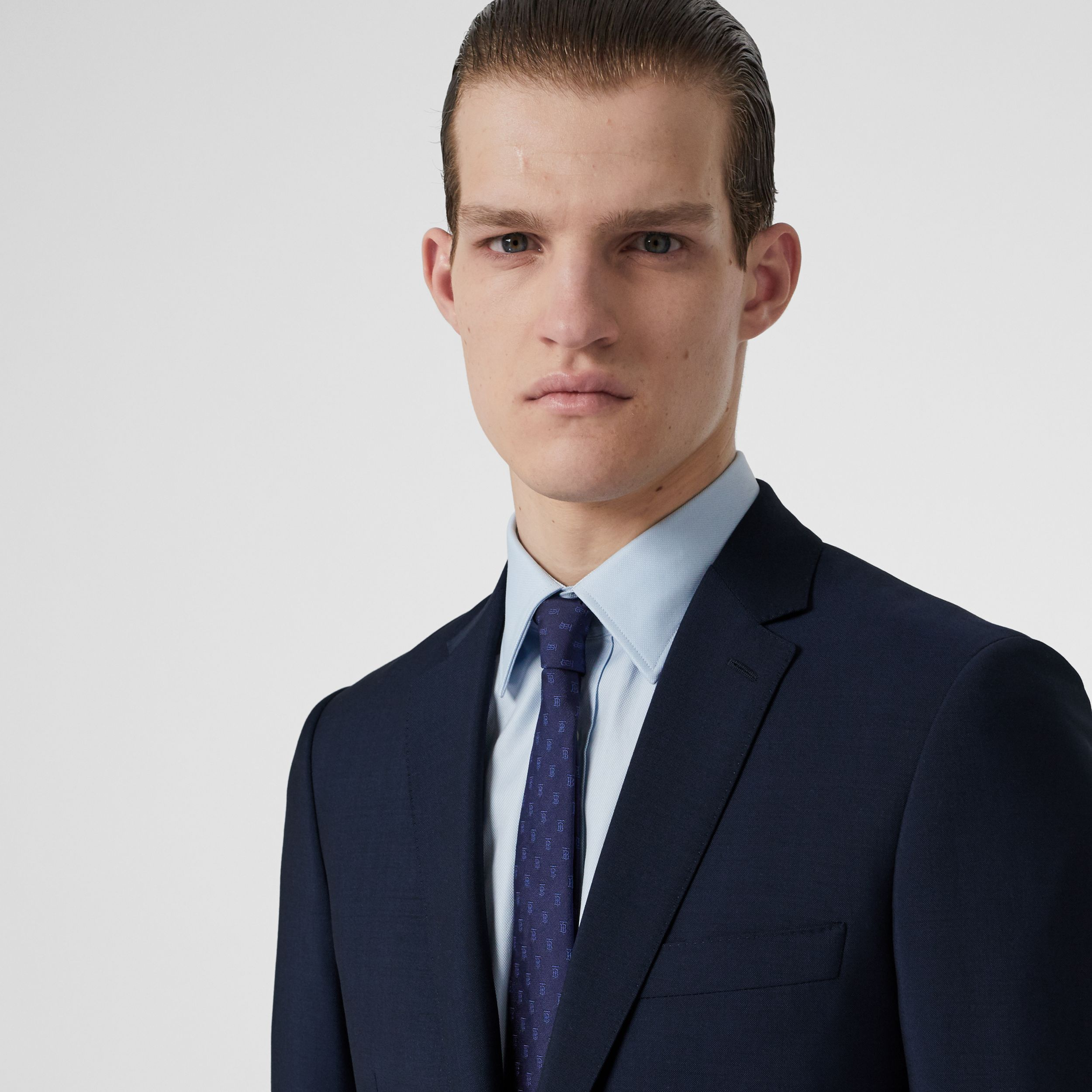Slim Fit Wool Mohair Suit in Navy - Men | Burberry - 2