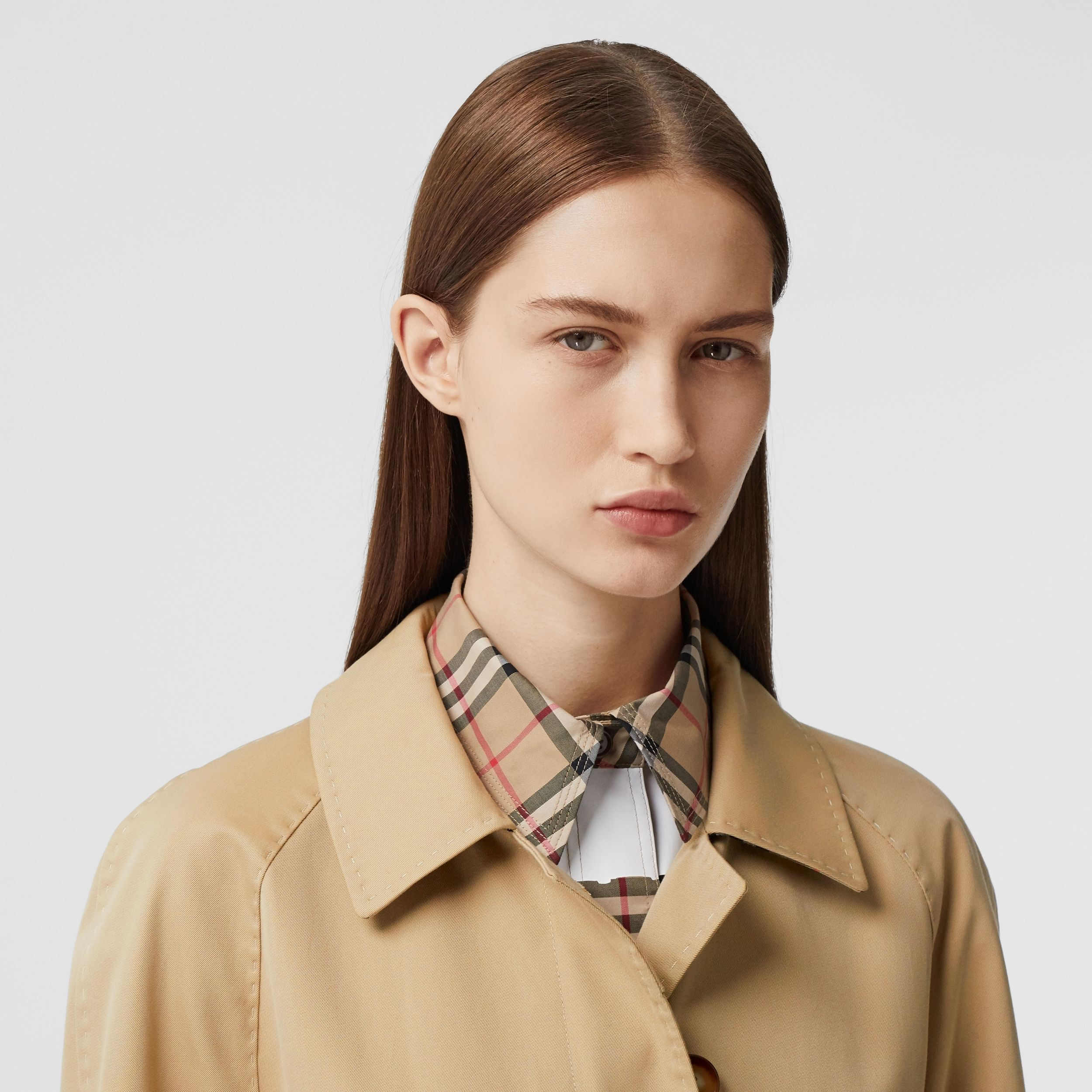 Cotton Gabardine Belted Car Coat in Honey - Women | Burberry - 2
