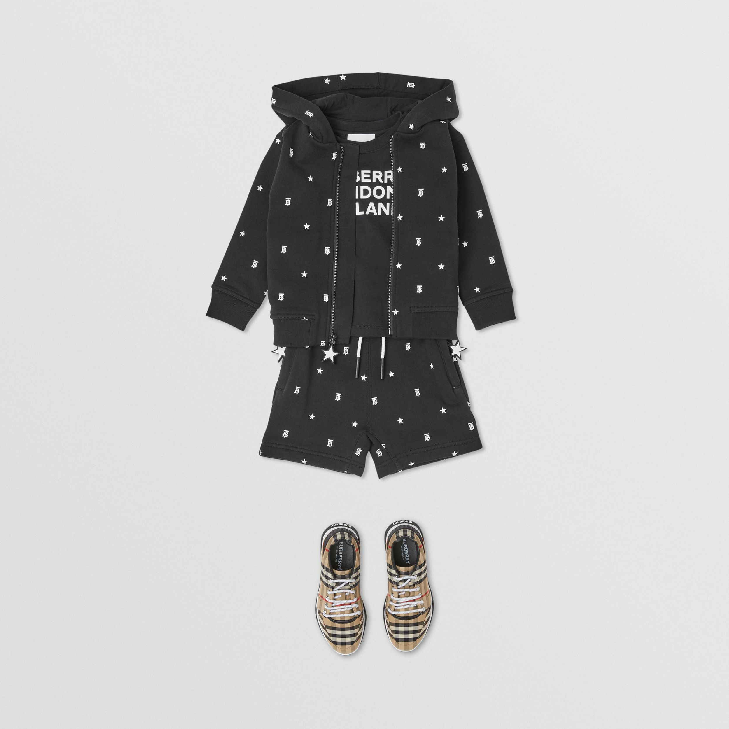 Star and Monogram Motif Cotton Shorts in Black - Children | Burberry United Kingdom - 4