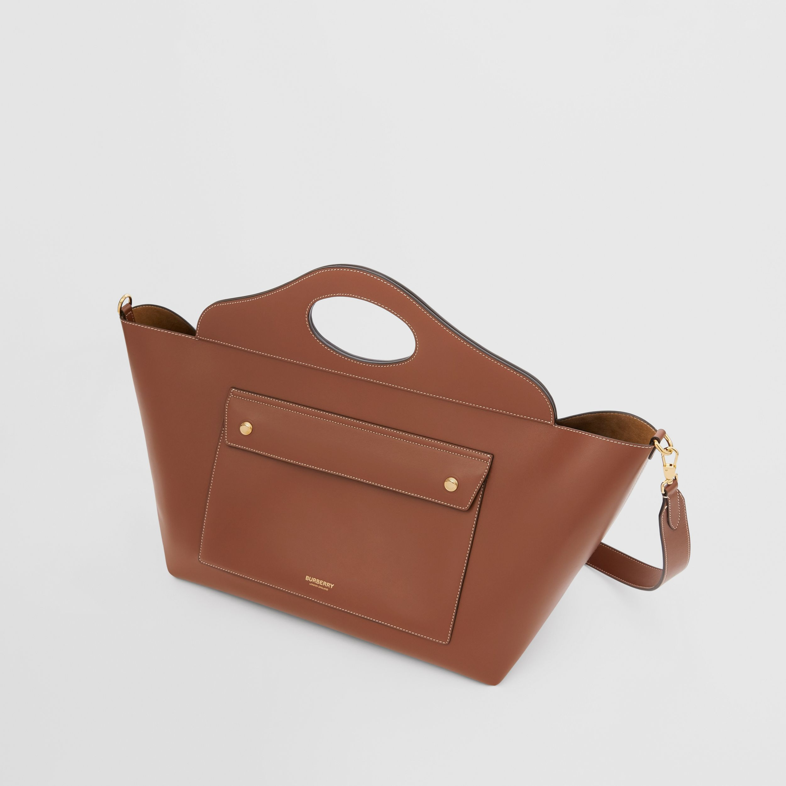 Medium Leather Soft Pocket Tote in Tan - Women | Burberry - 4