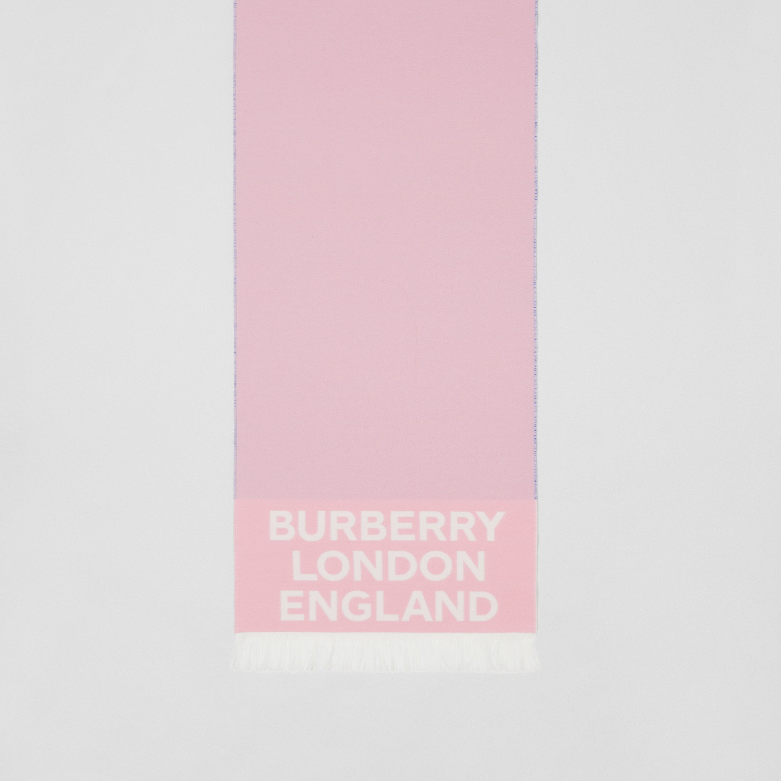 Love and Logo Wool Silk Jacquard Scarf in Frosted Pink | Burberry - 4