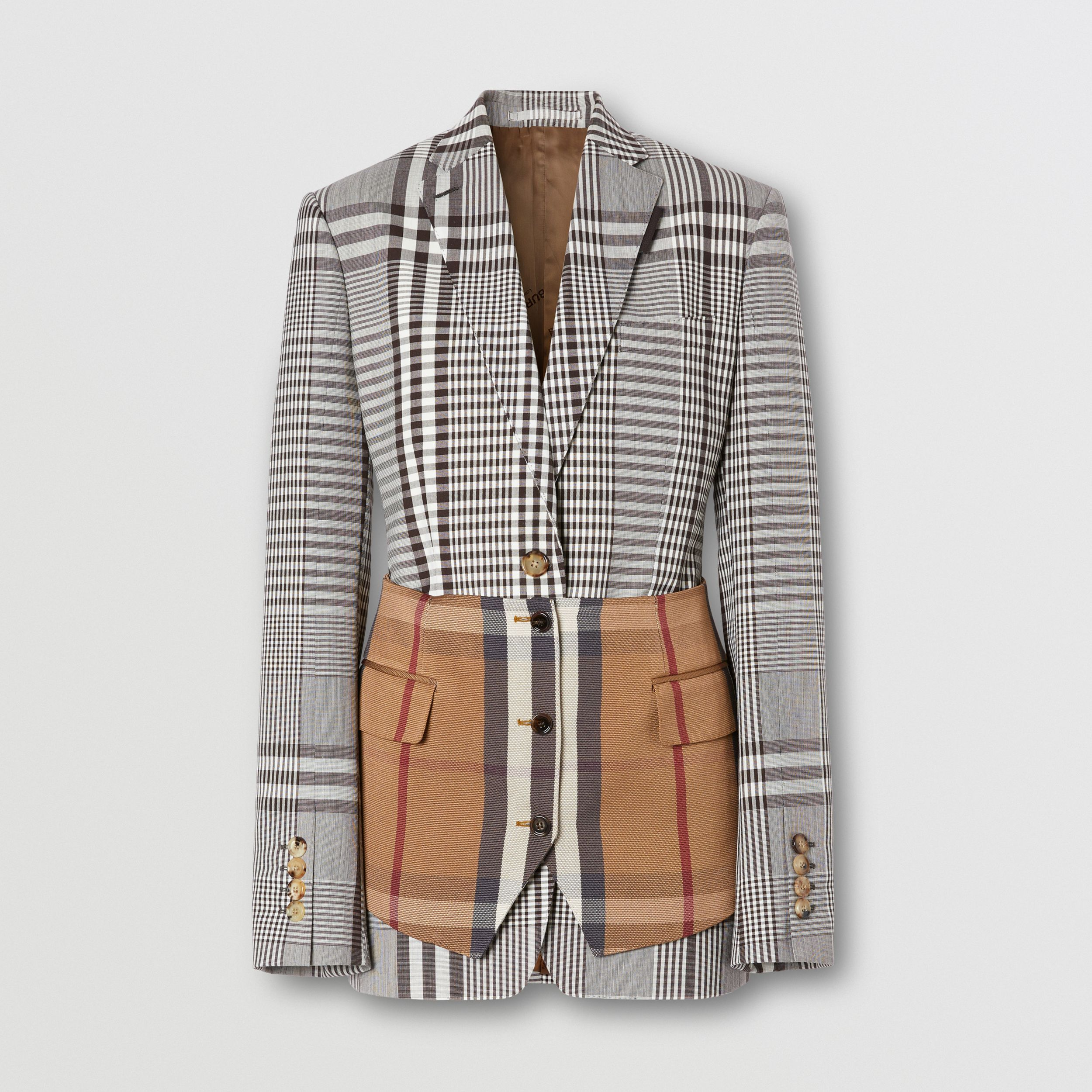 Basque Detail Check Technical Wool Tailored Jacket in Dark Brown - Women | Burberry - 4