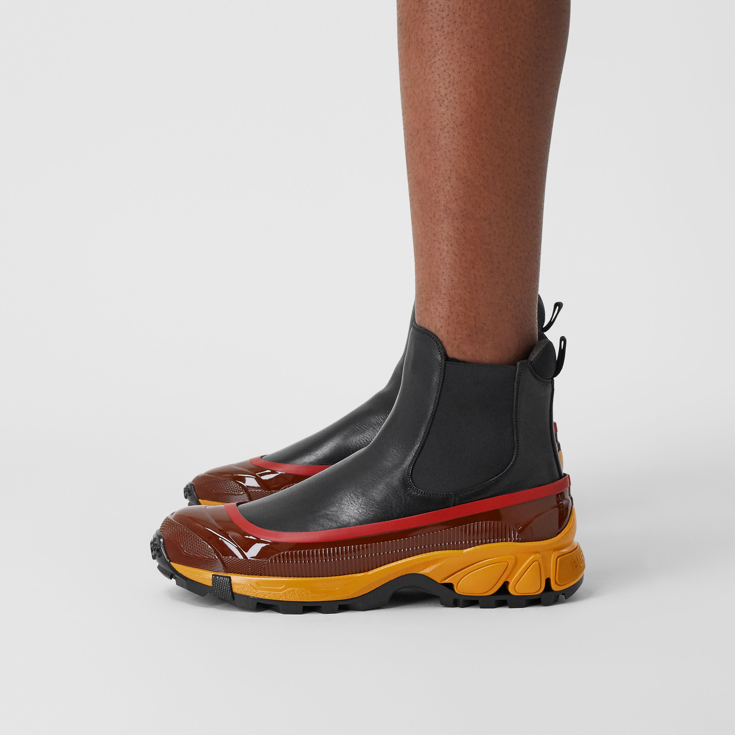 Contrast Sole Leather Chelsea Boots in Black - Men | Burberry - 3