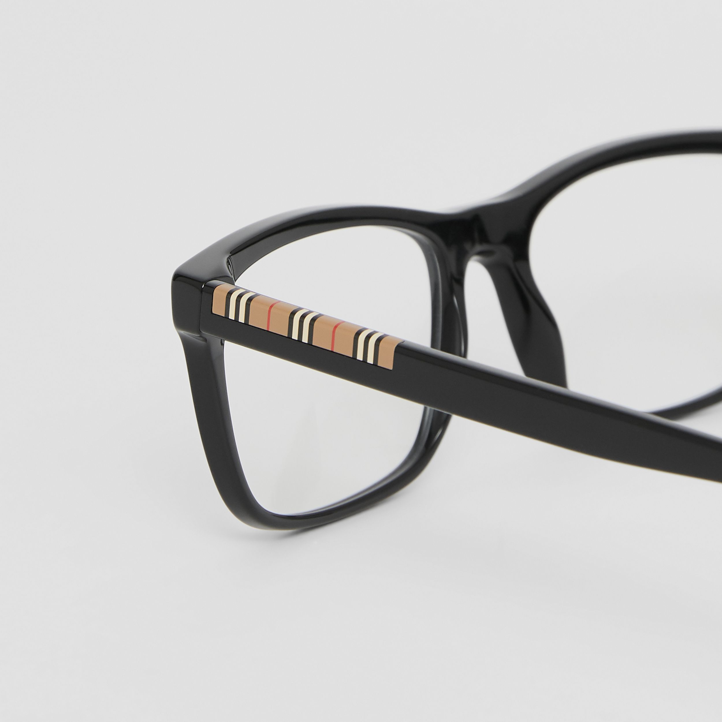 Icon Stripe Detail Rectangular Optical Frames in Black - Men | Burberry - 2