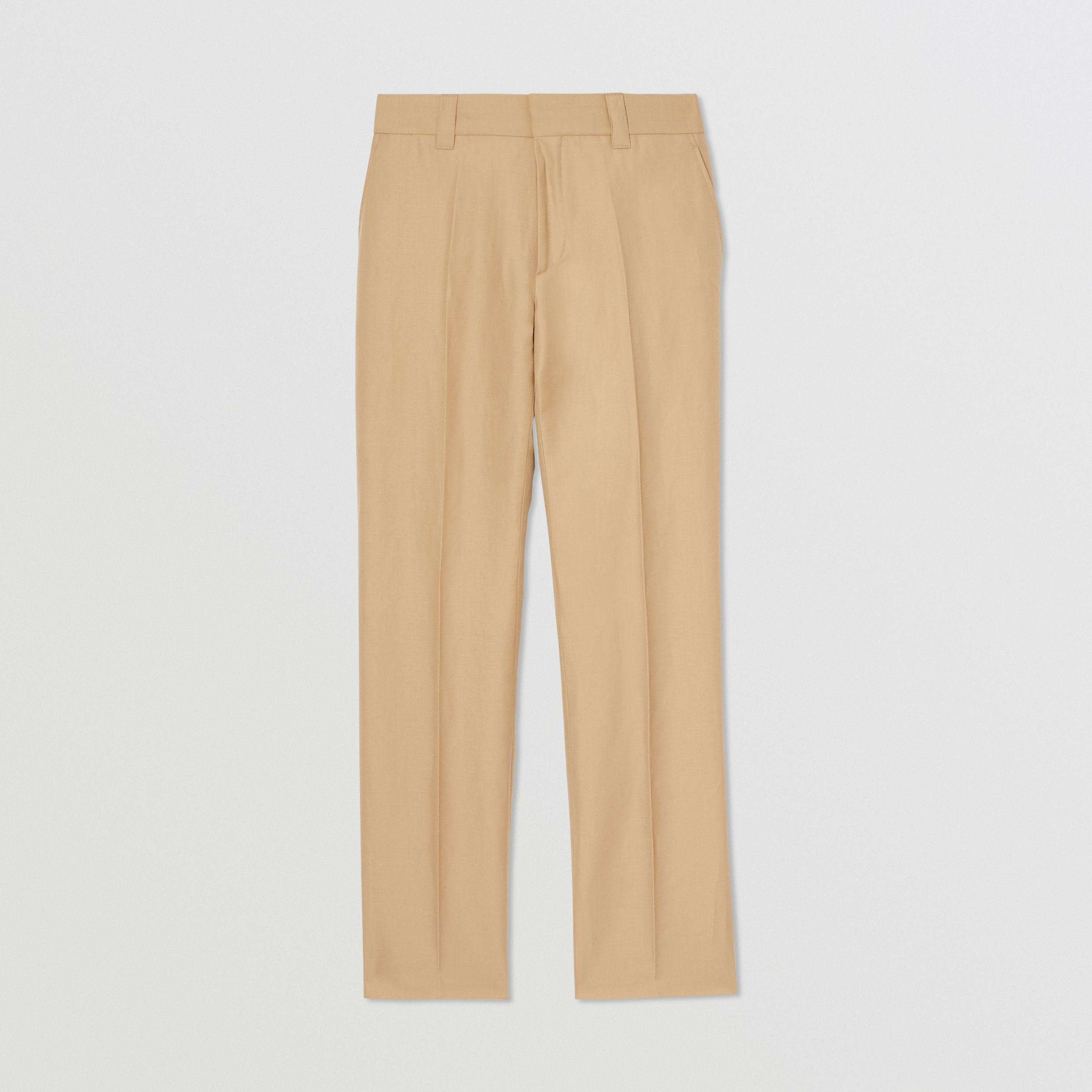 Wool Linen Cropped Tailored Trousers in Honey - Men | Burberry United States - 4