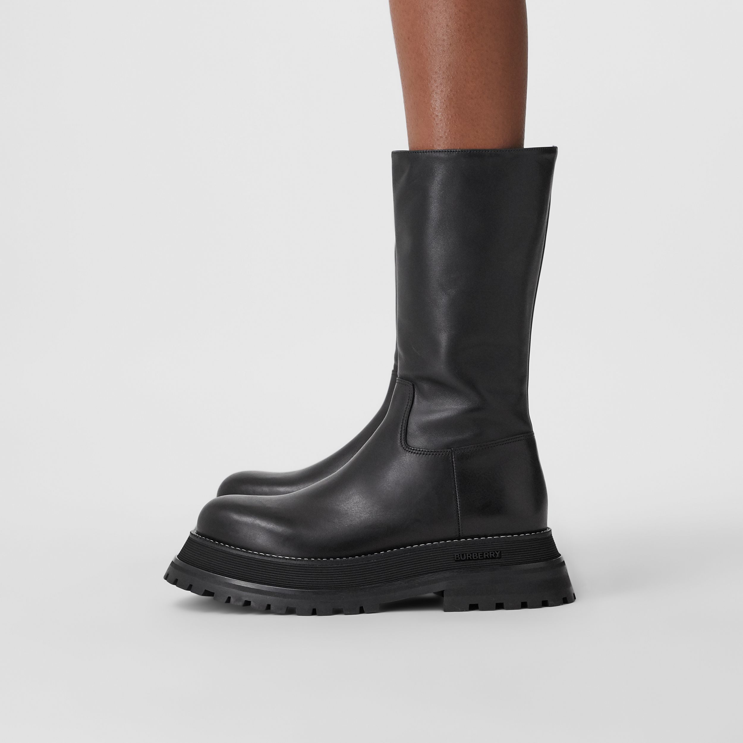Leather and Lambskin Boots in Black - Women | Burberry - 3