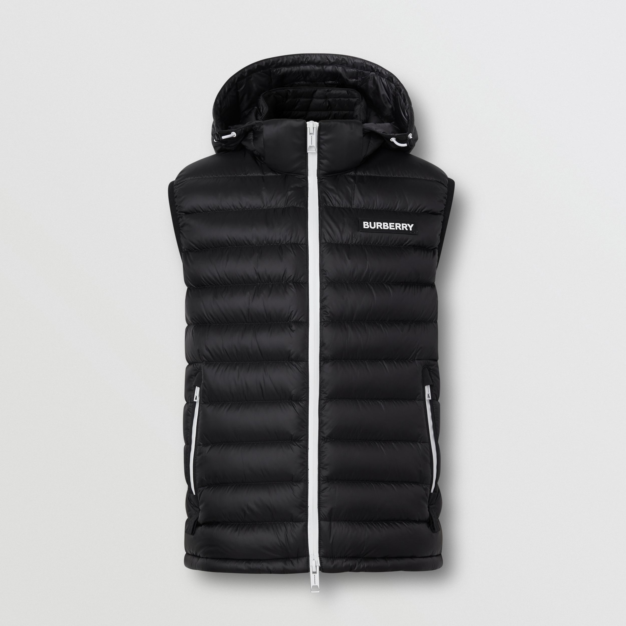 Detachable Hood Logo Appliqué Puffer Gilet in Black - Men | Burberry - 4
