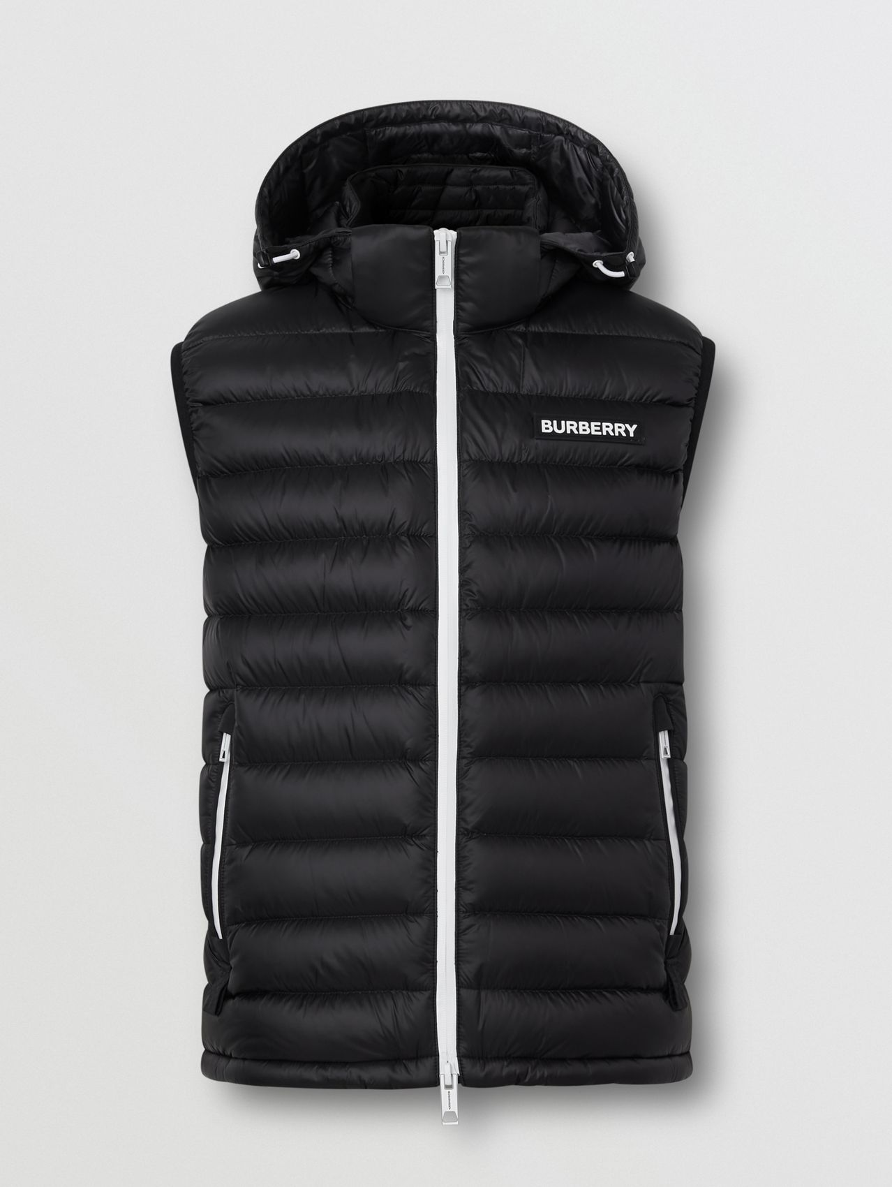 Detachable Hood Logo Appliqué Puffer Gilet in Black