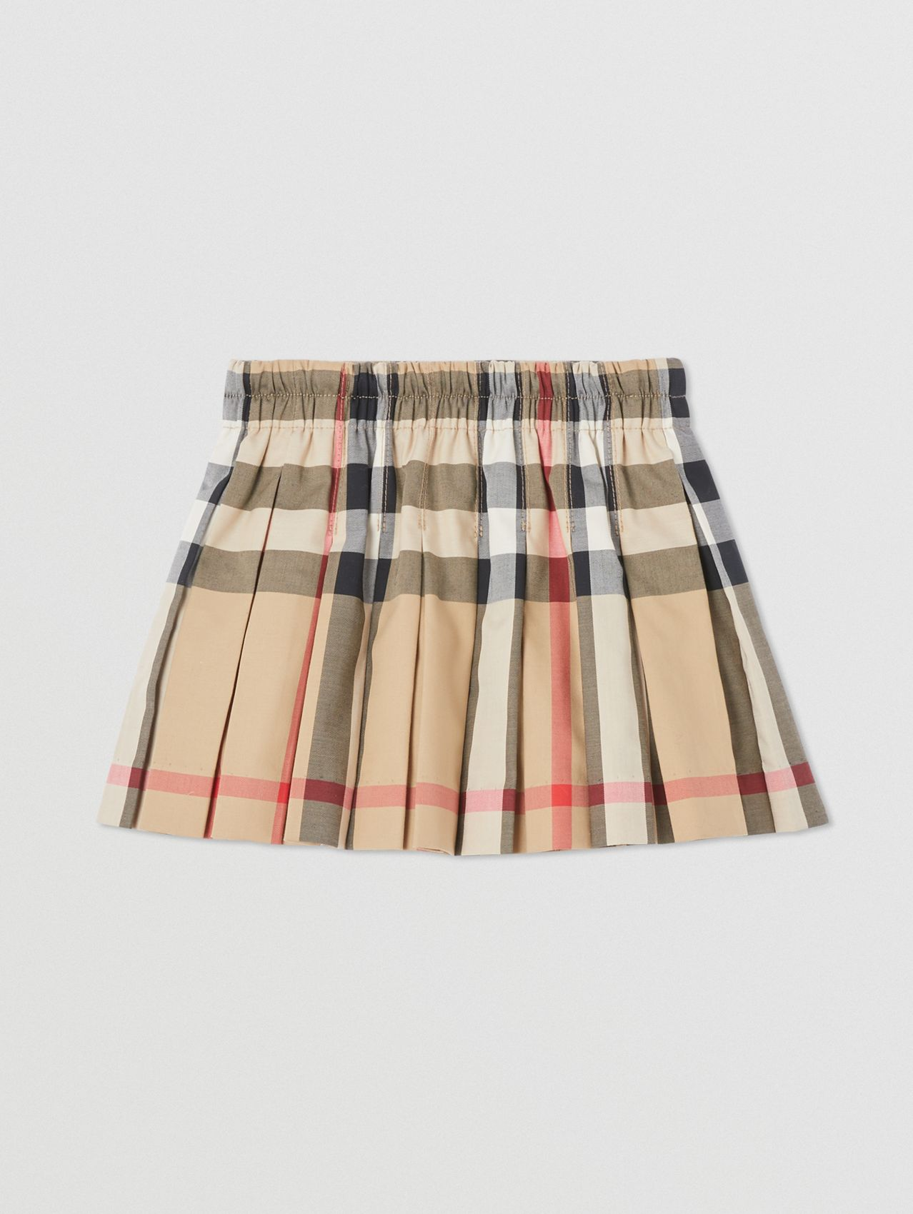 Check Stretch Cotton Pleated Skirt in Archive Beige