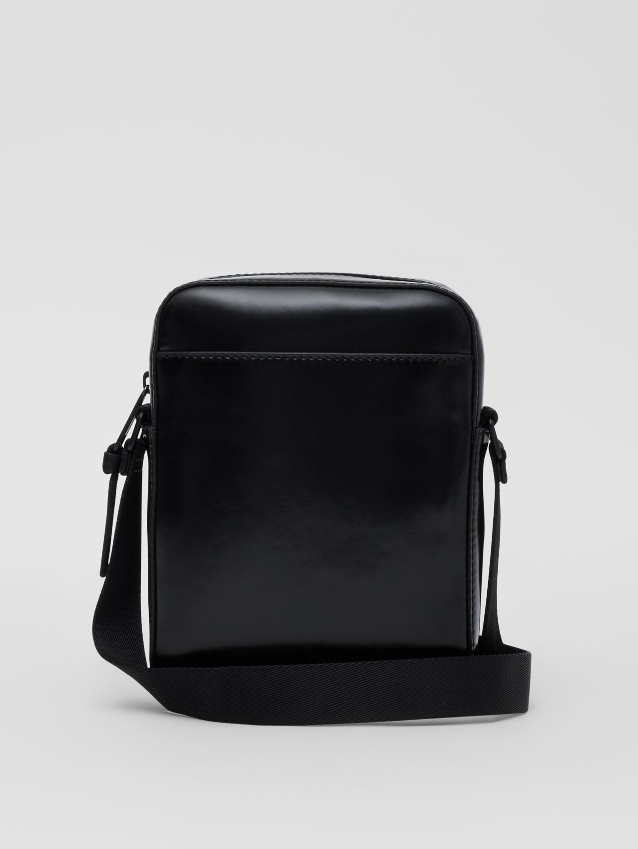 Logo and Icon Stripe Print Crossbody Bag in Black