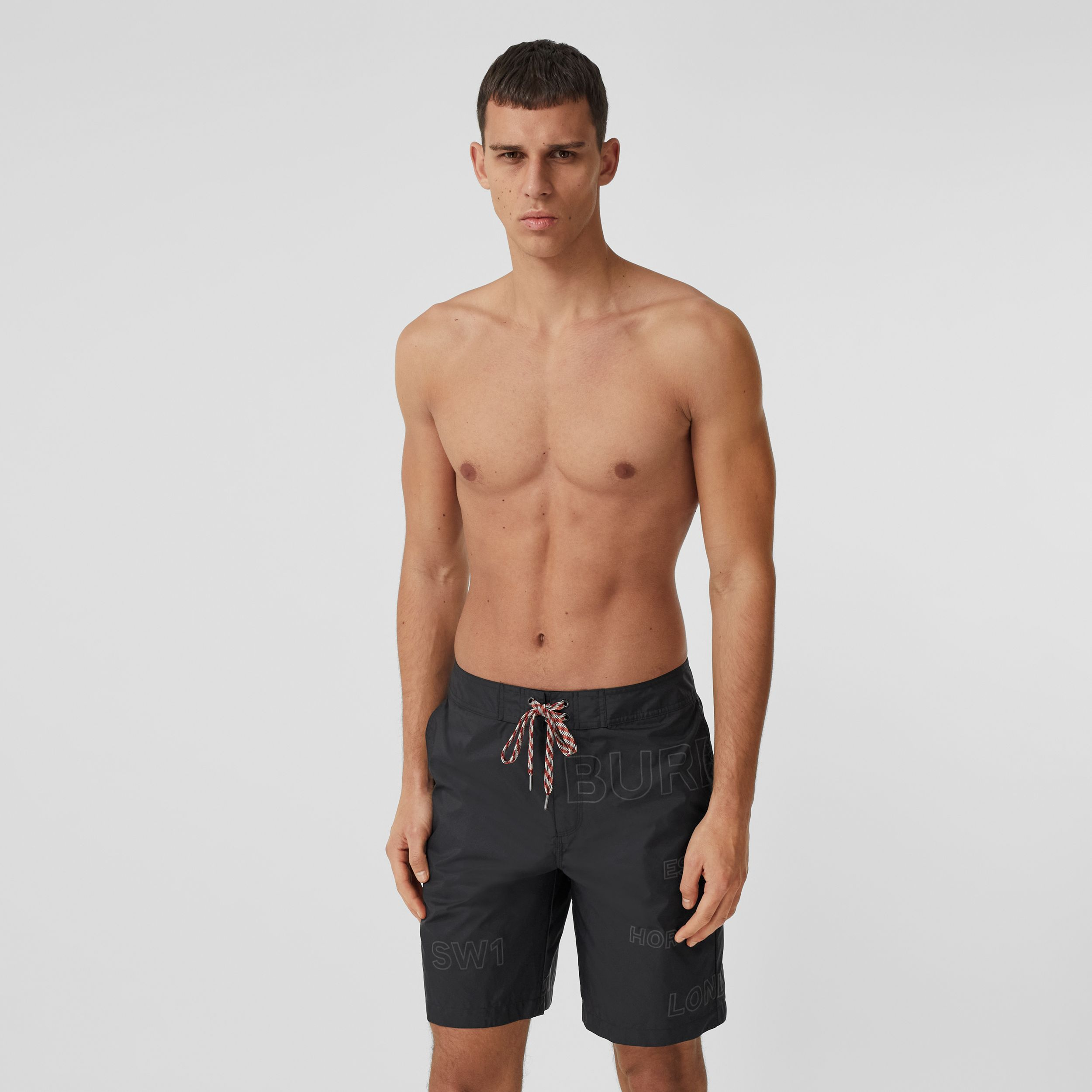 Horseferry Print Swim Shorts in Black - Men | Burberry - 1
