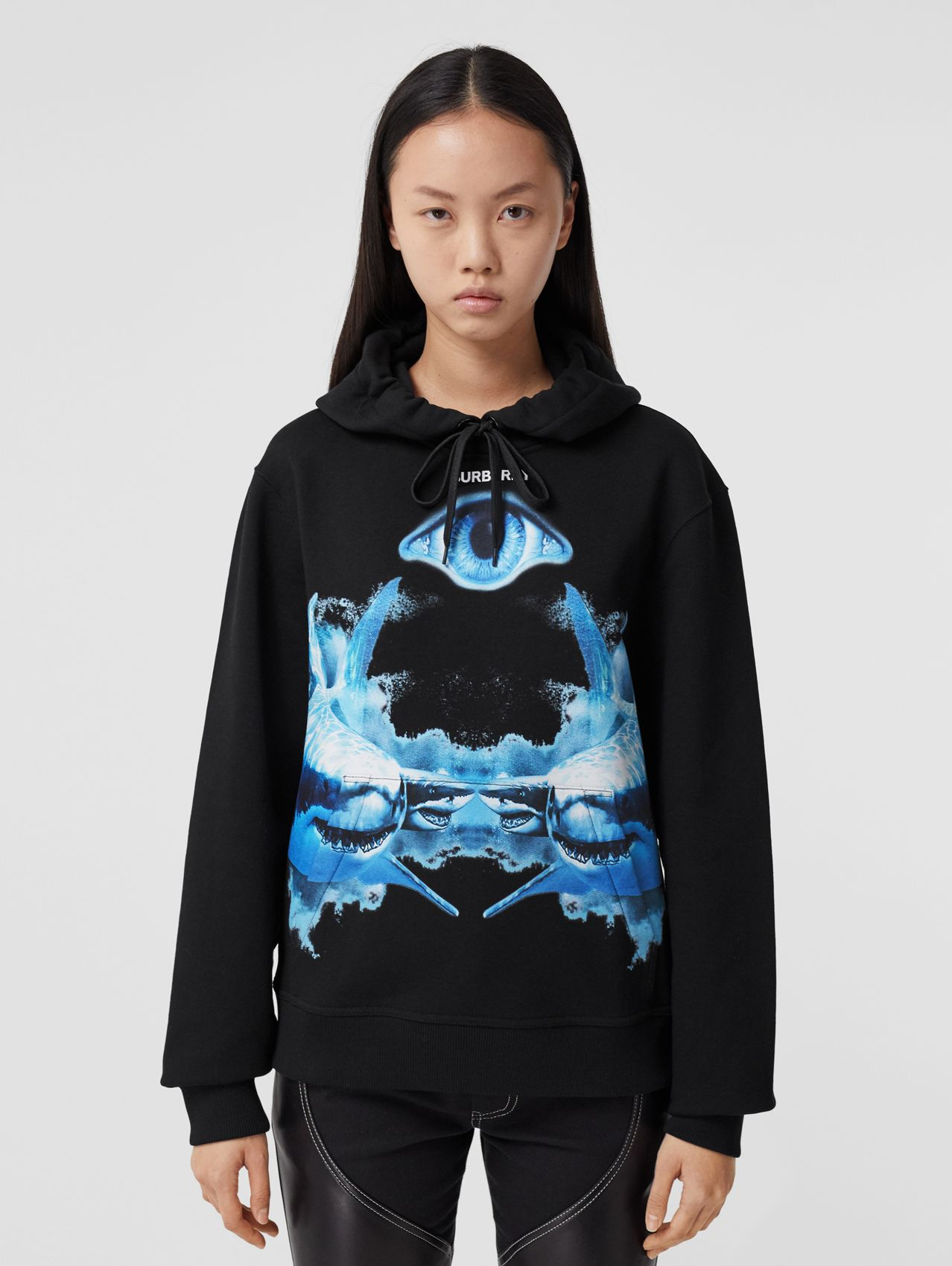 Shark Print Cotton Oversized Hoodie in Black