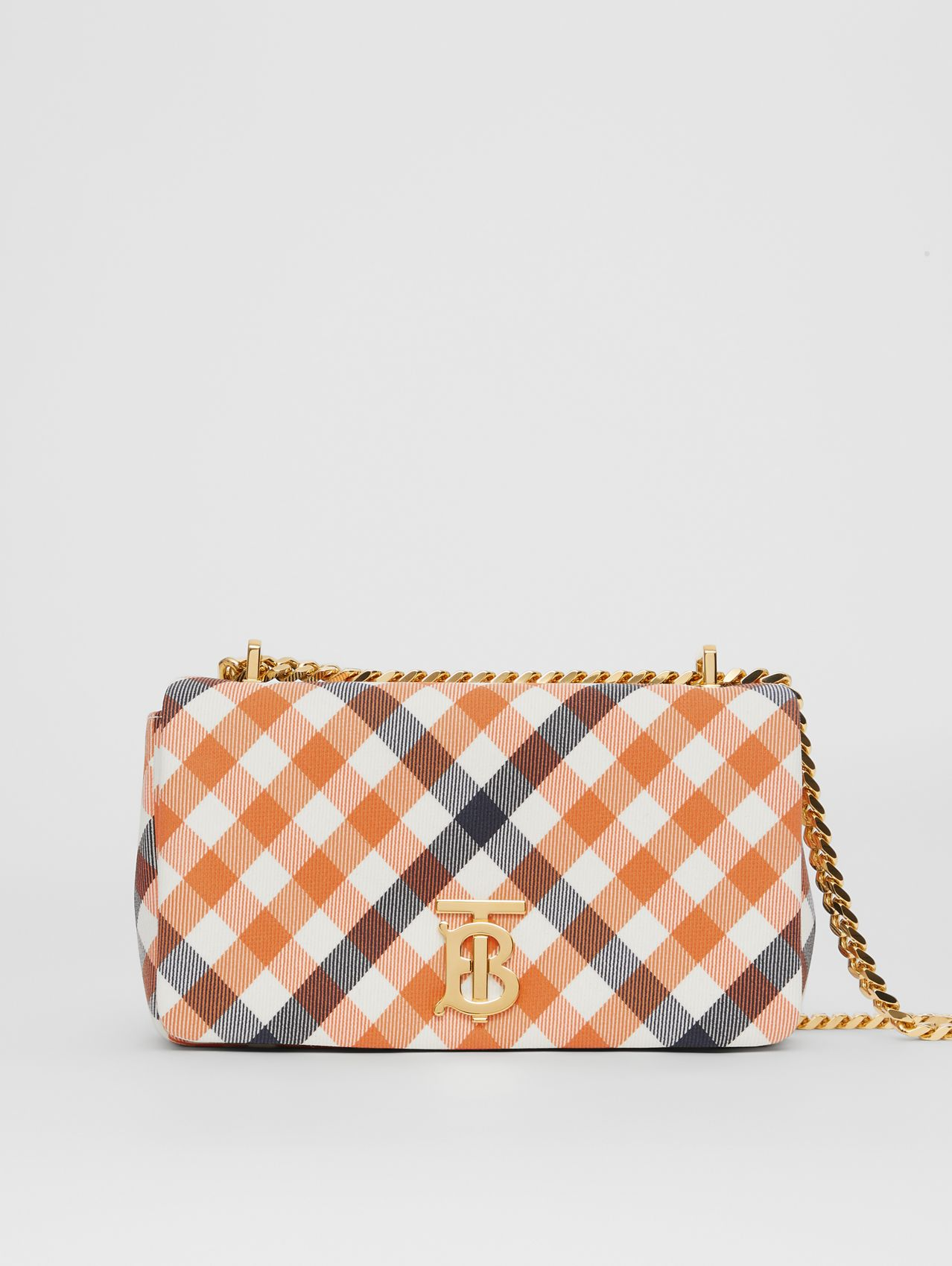 Small Gingham Wool Cotton Lola Bag in Bright Orange