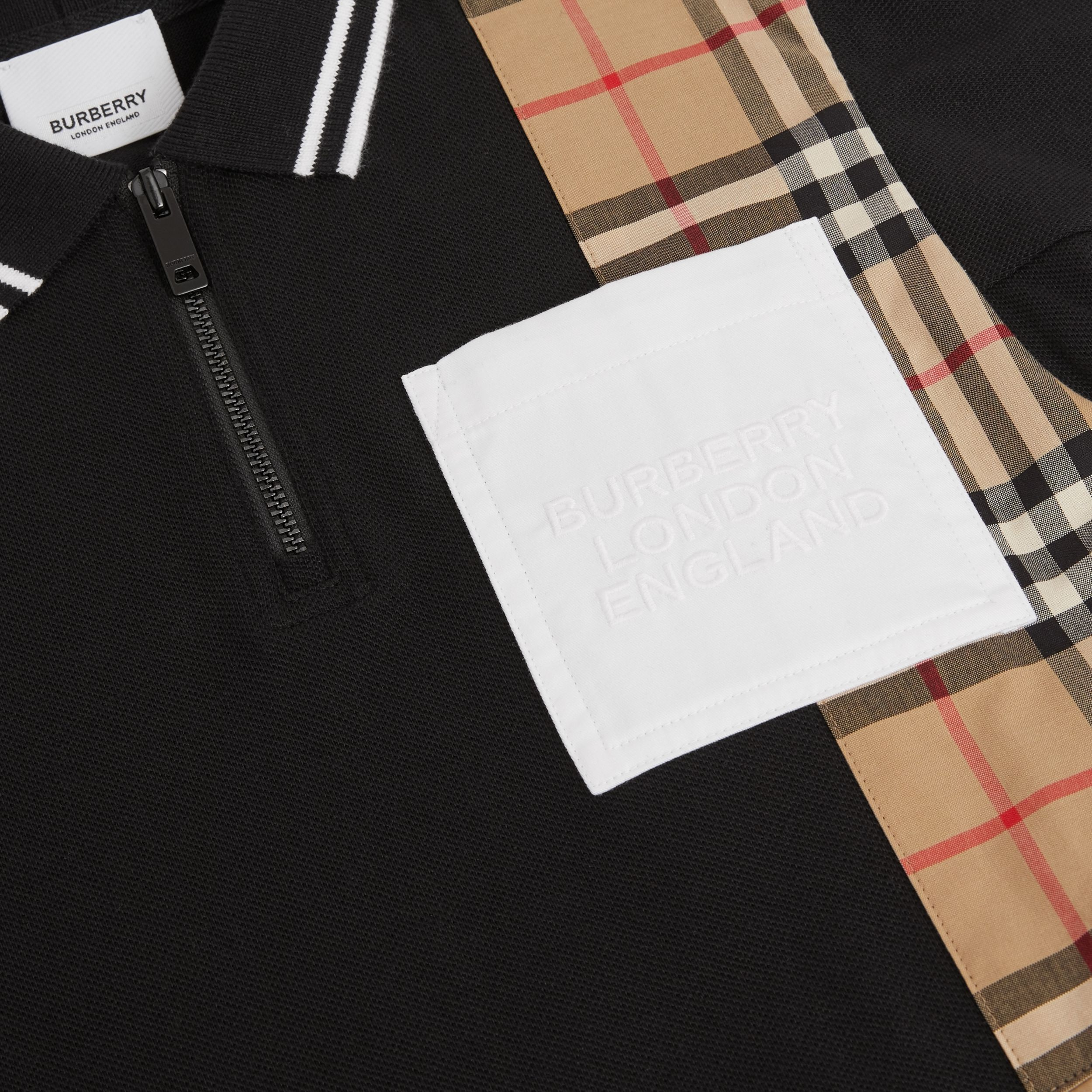 Vintage Check Panel Cotton Piqué Polo Shirt Dress in Black | Burberry - 2
