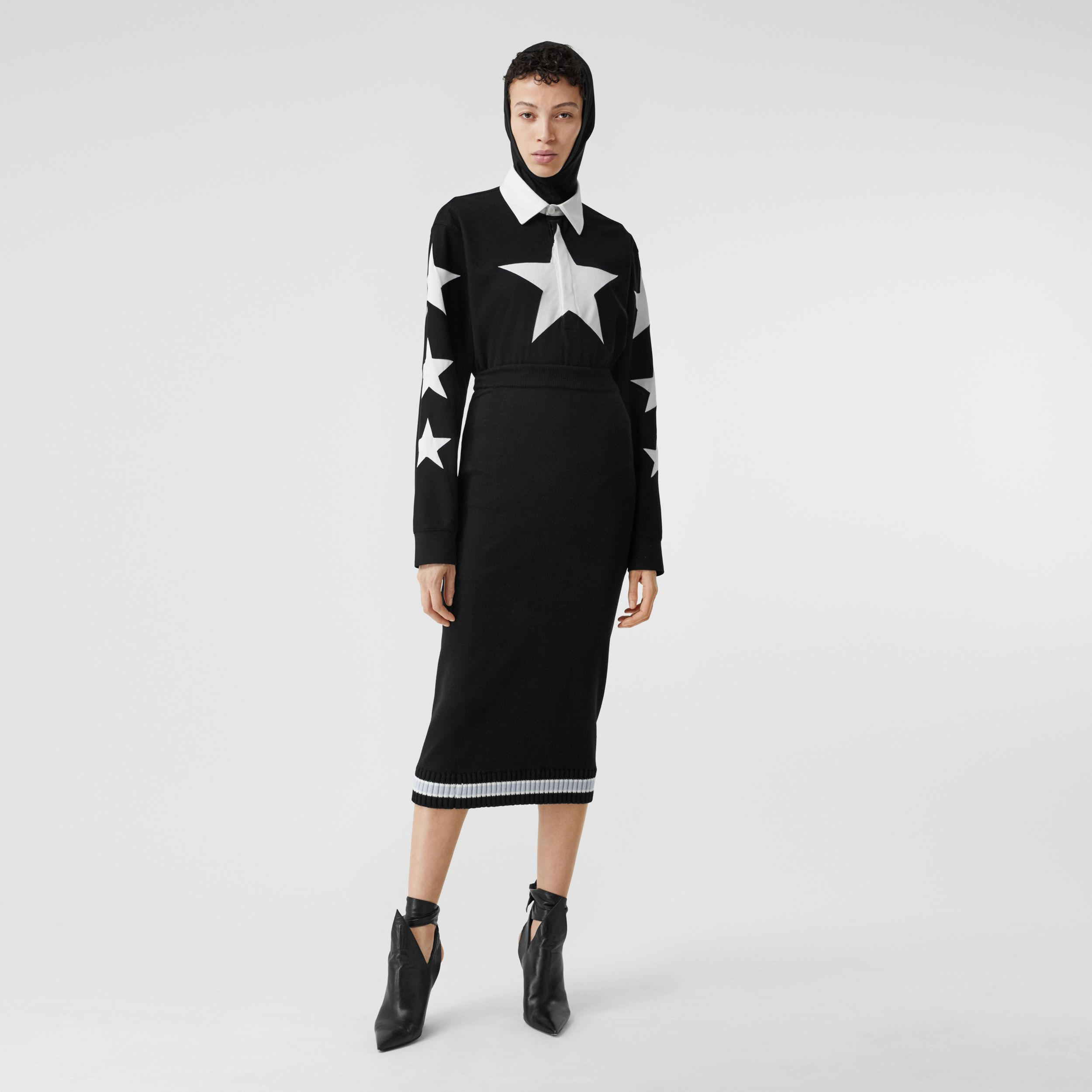 Long-sleeve Star Motif Cotton Piqué Polo Shirt Dress in Black - Women | Burberry - 1