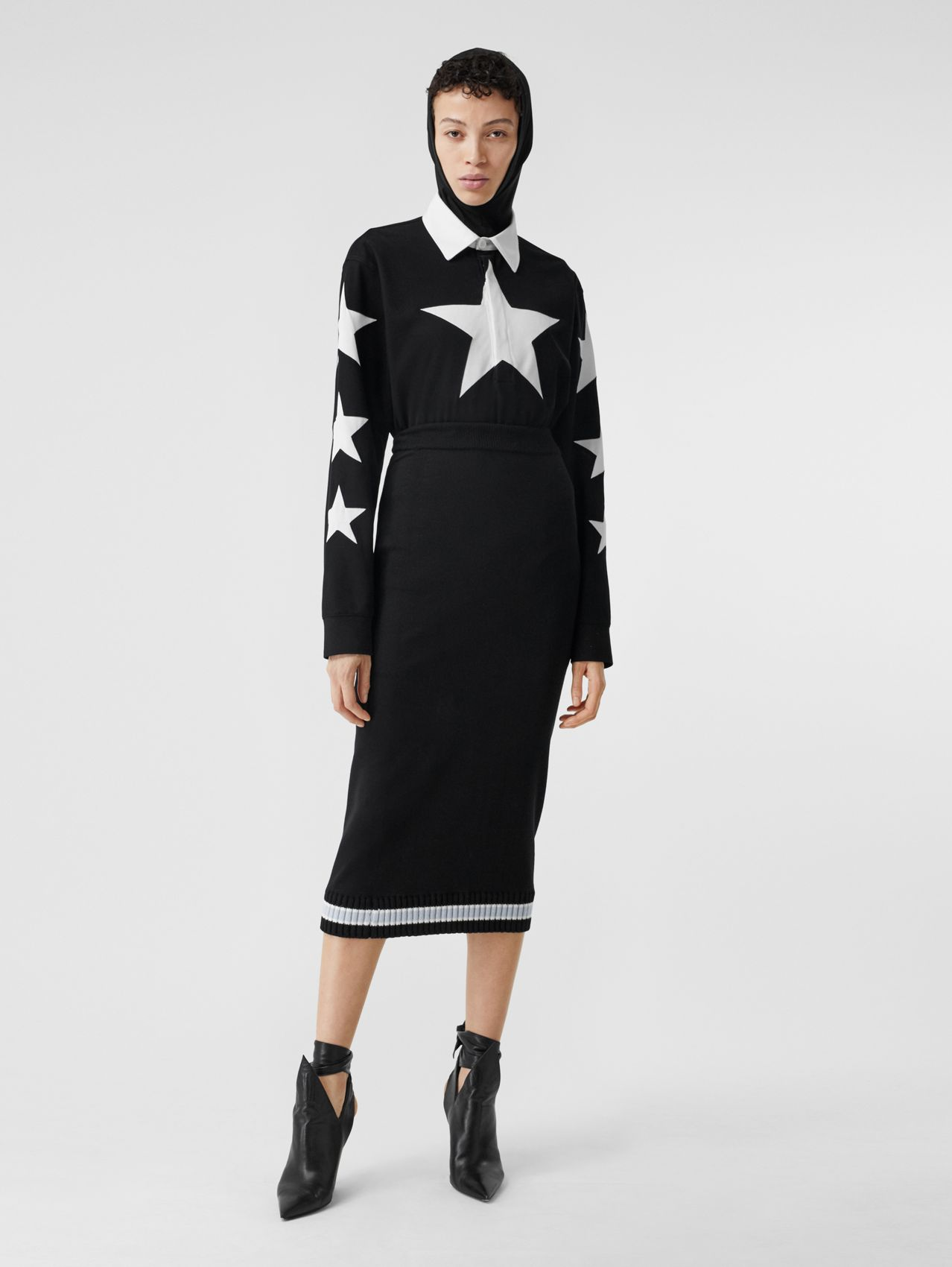 Long-sleeve Star Motif Cotton Piqué Polo Shirt Dress in Black