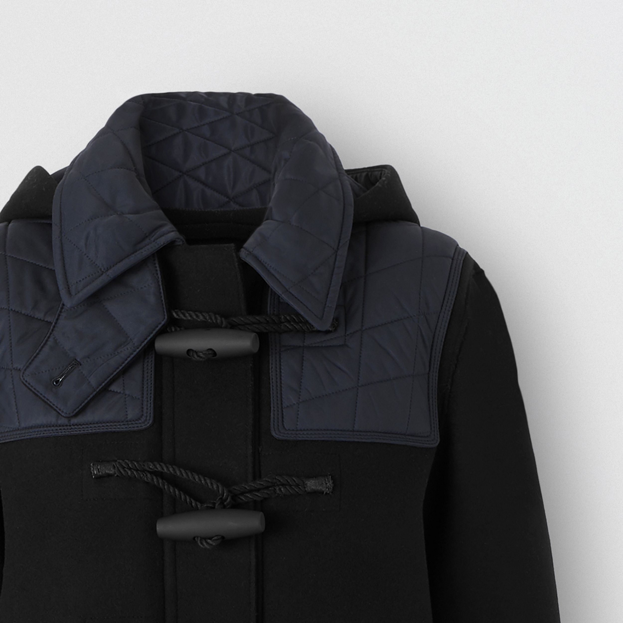 Diamond Quilted Panel Technical Wool Duffle Coat in Black - Women | Burberry - 2