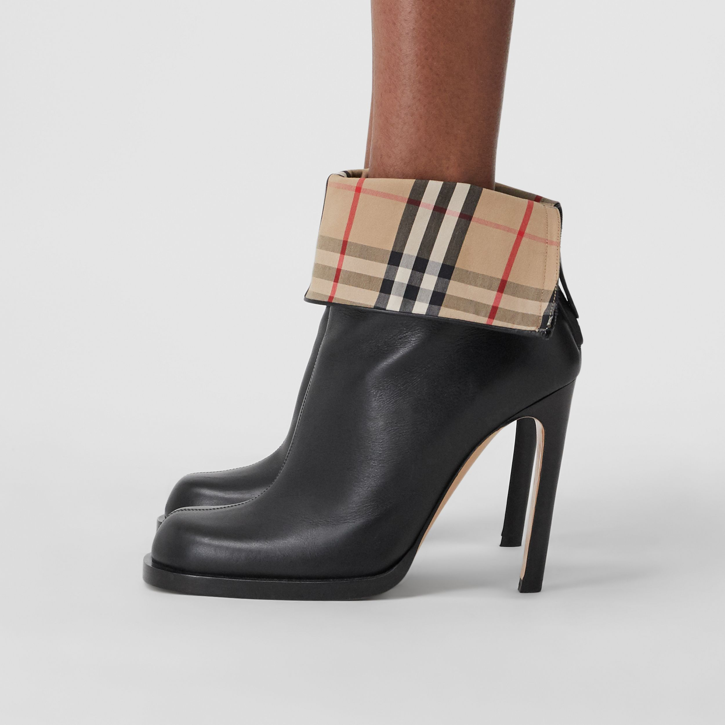 Vintage Check-lined Leather Ankle Boots in Black - Women | Burberry Hong Kong S.A.R. - 4