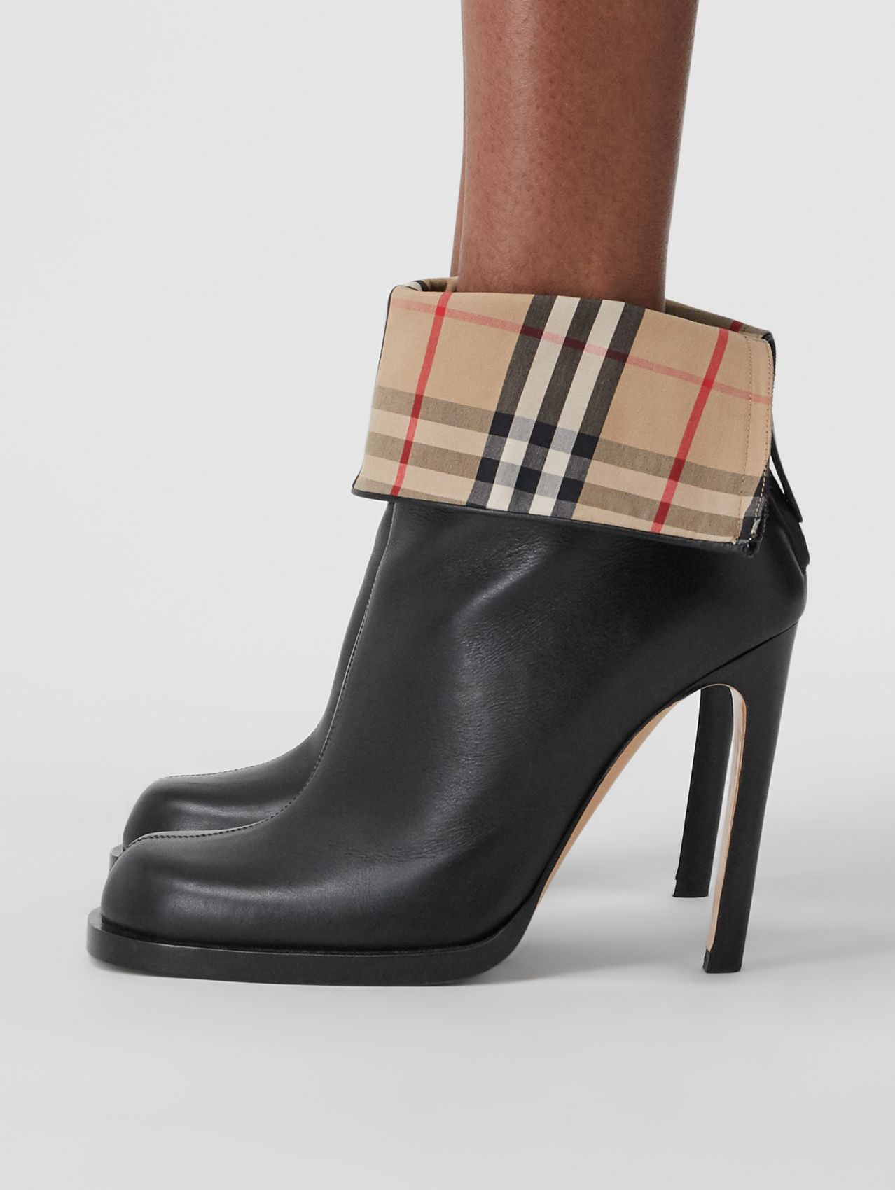 Vintage Check-lined Leather Ankle Boots in Black