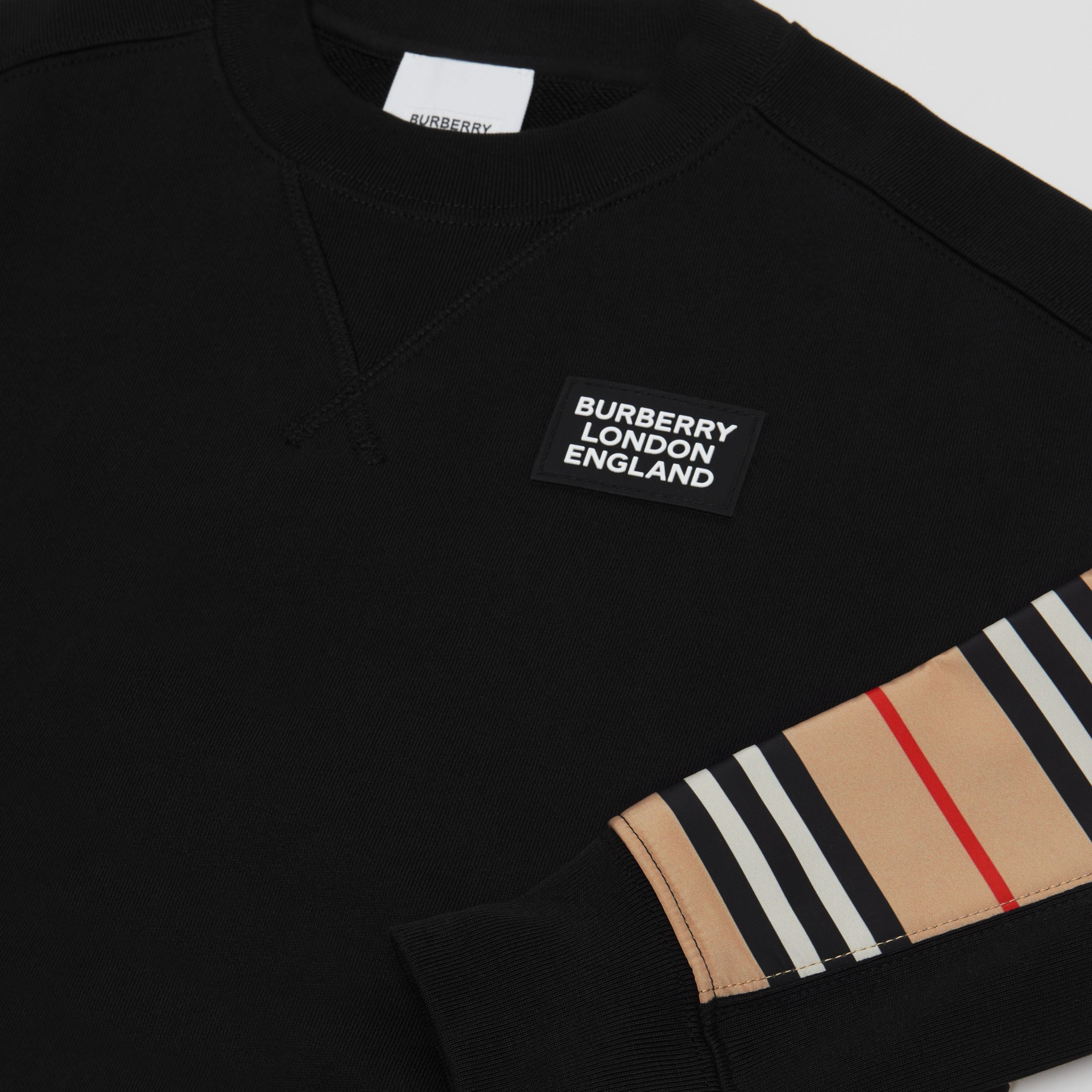 Icon Stripe Panel Cotton Sweatshirt | Burberry - 2