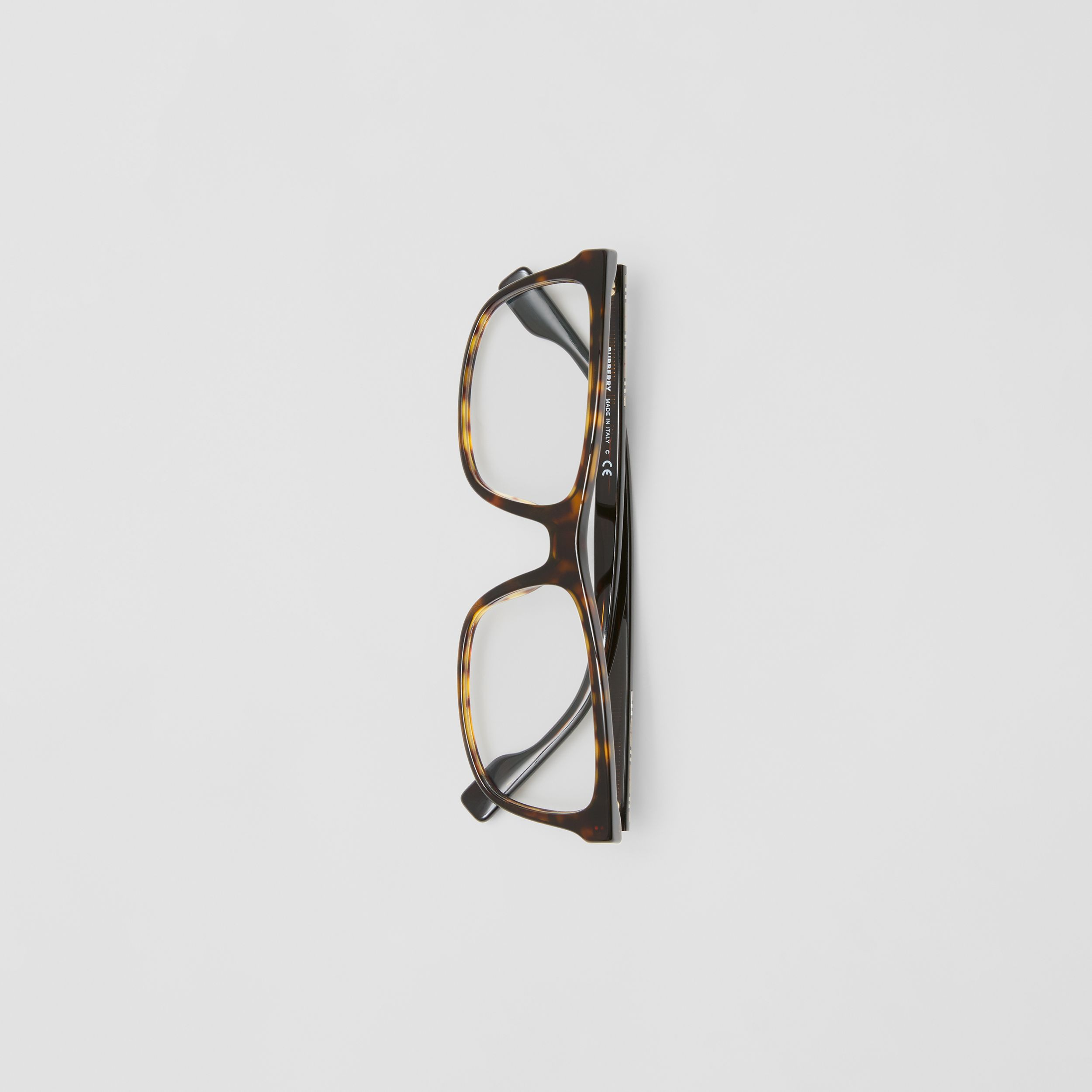Icon Stripe Detail Rectangular Optical Frames in Tortoiseshell - Men | Burberry - 4