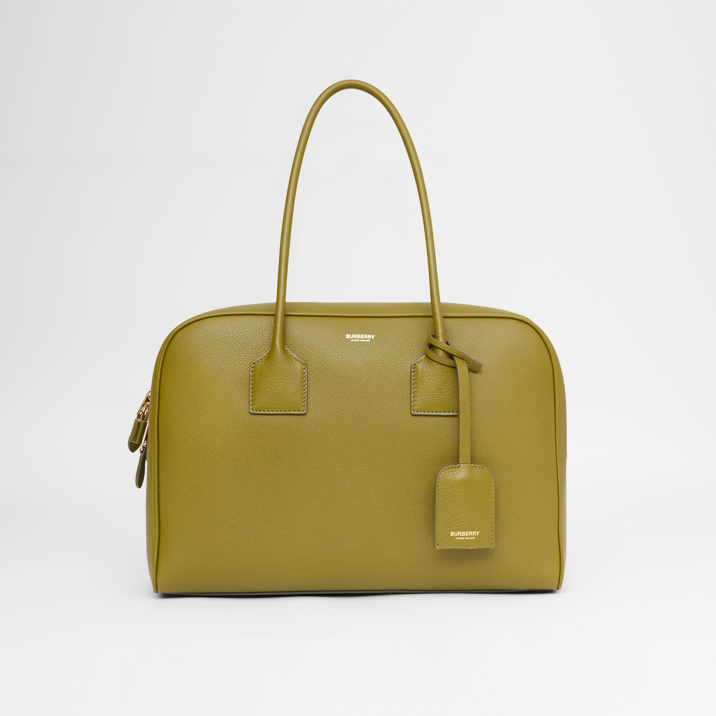 Large Leather Half Cube Bag in Juniper Green - Women | Burberry - 1
