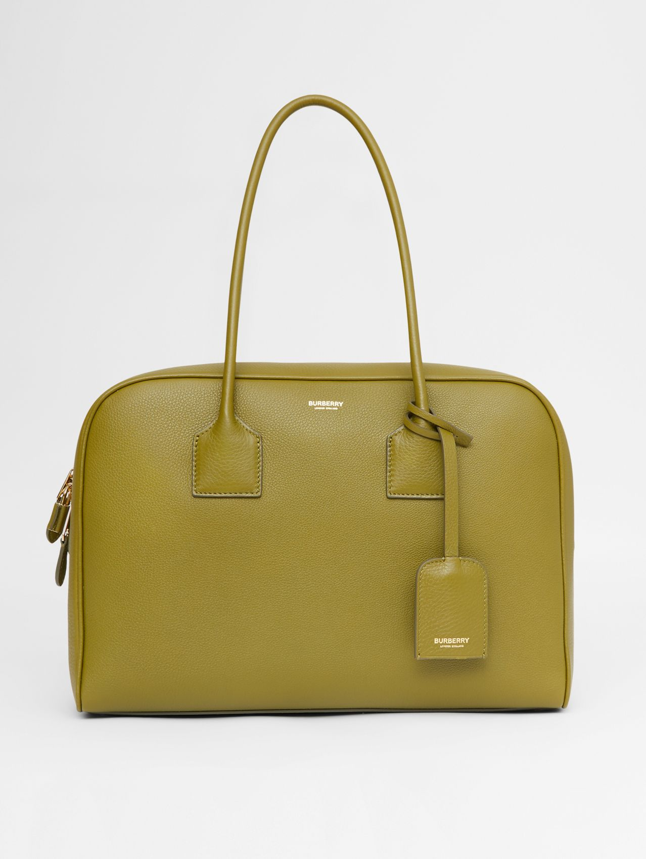 Large Leather Half Cube Bag in Juniper Green