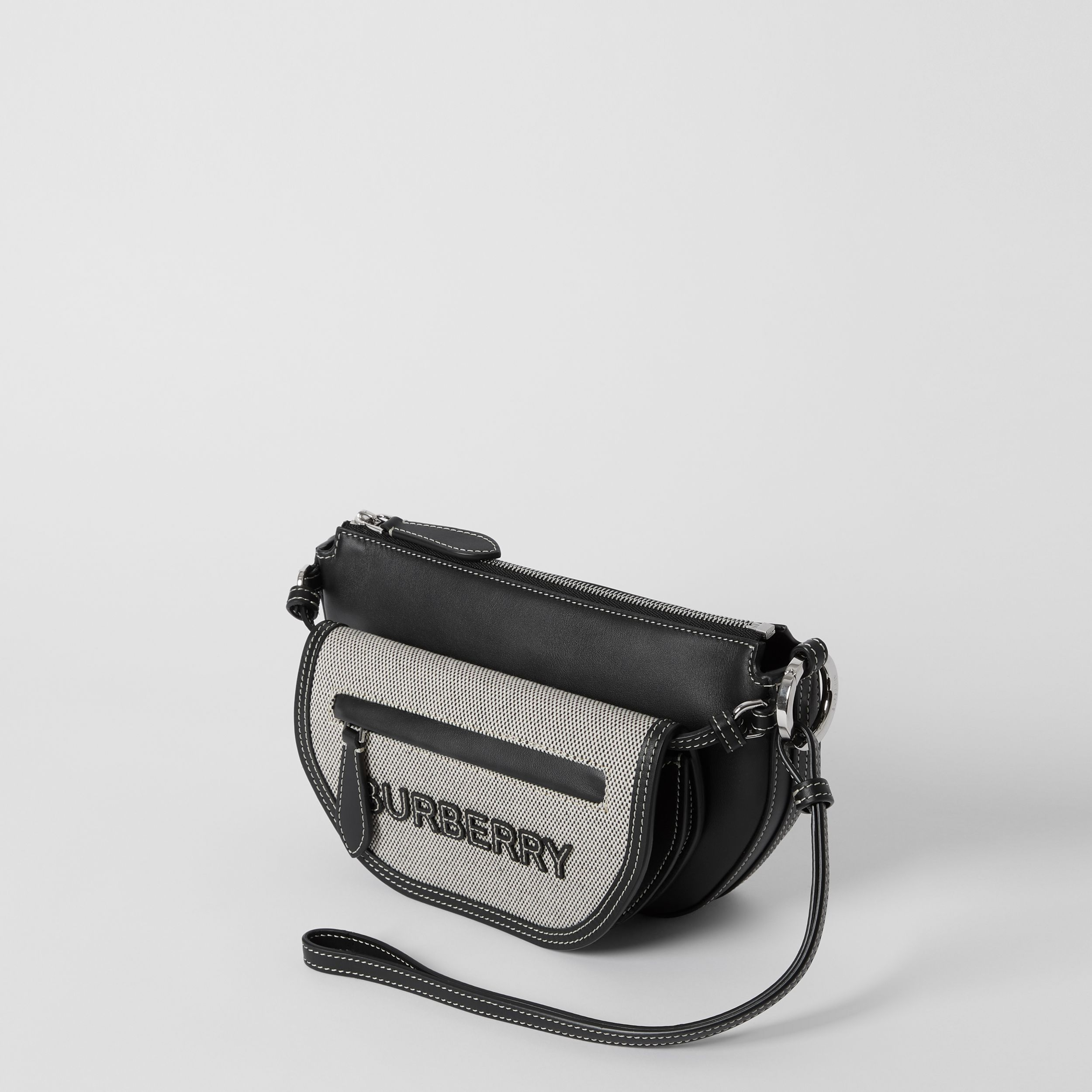 Mini Cotton Canvas and Leather Double Olympia Bag in Black - Women | Burberry Canada - 3