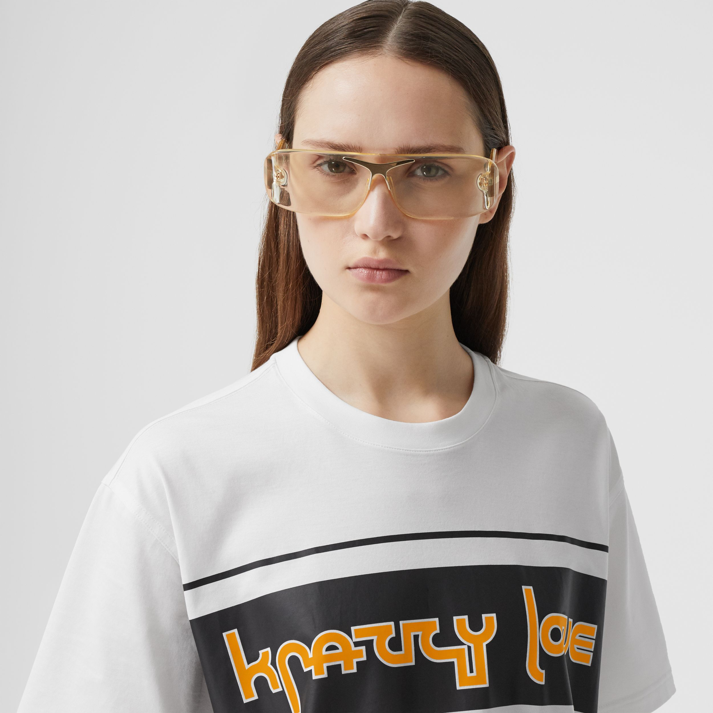 Slogan Print Cotton Oversized T-shirt in White - Women | Burberry Australia - 2